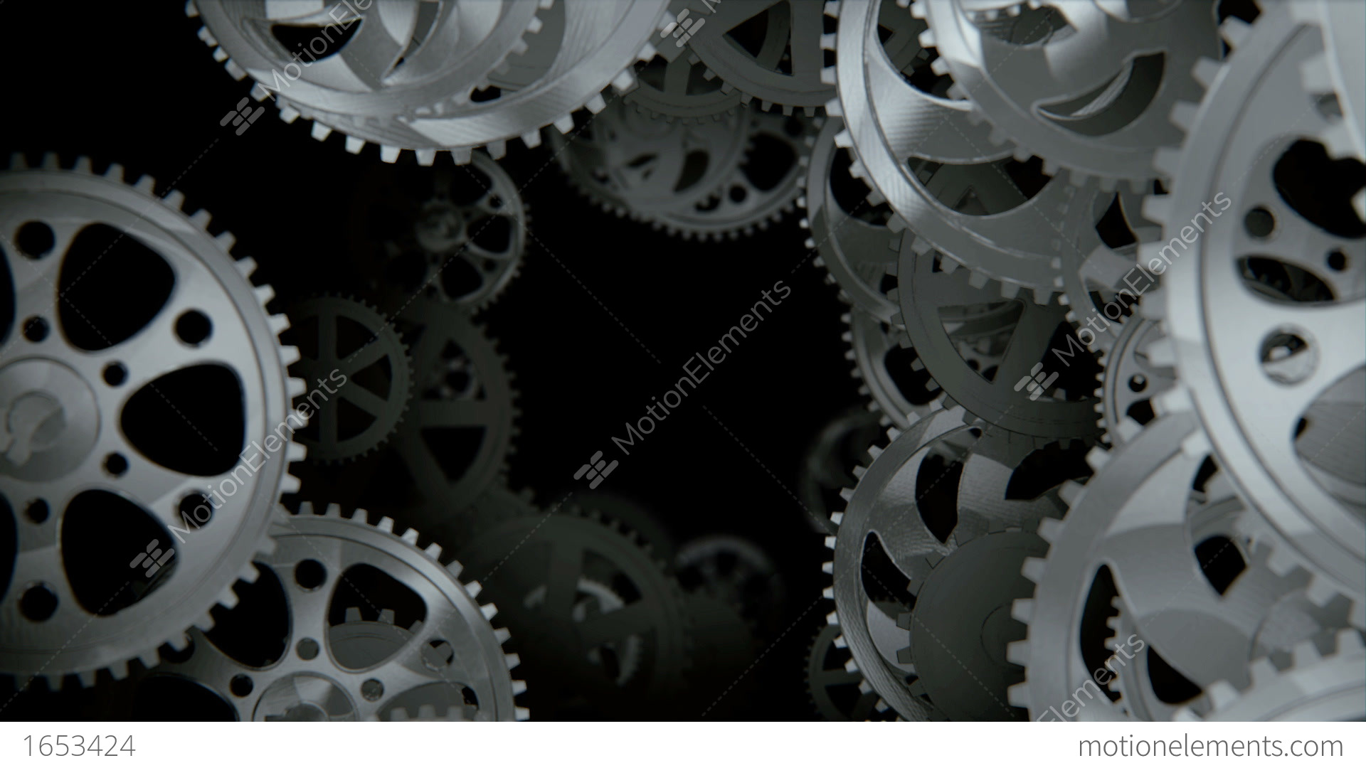 Camera Moving Through Spinning Gears And Cogs Stock ...