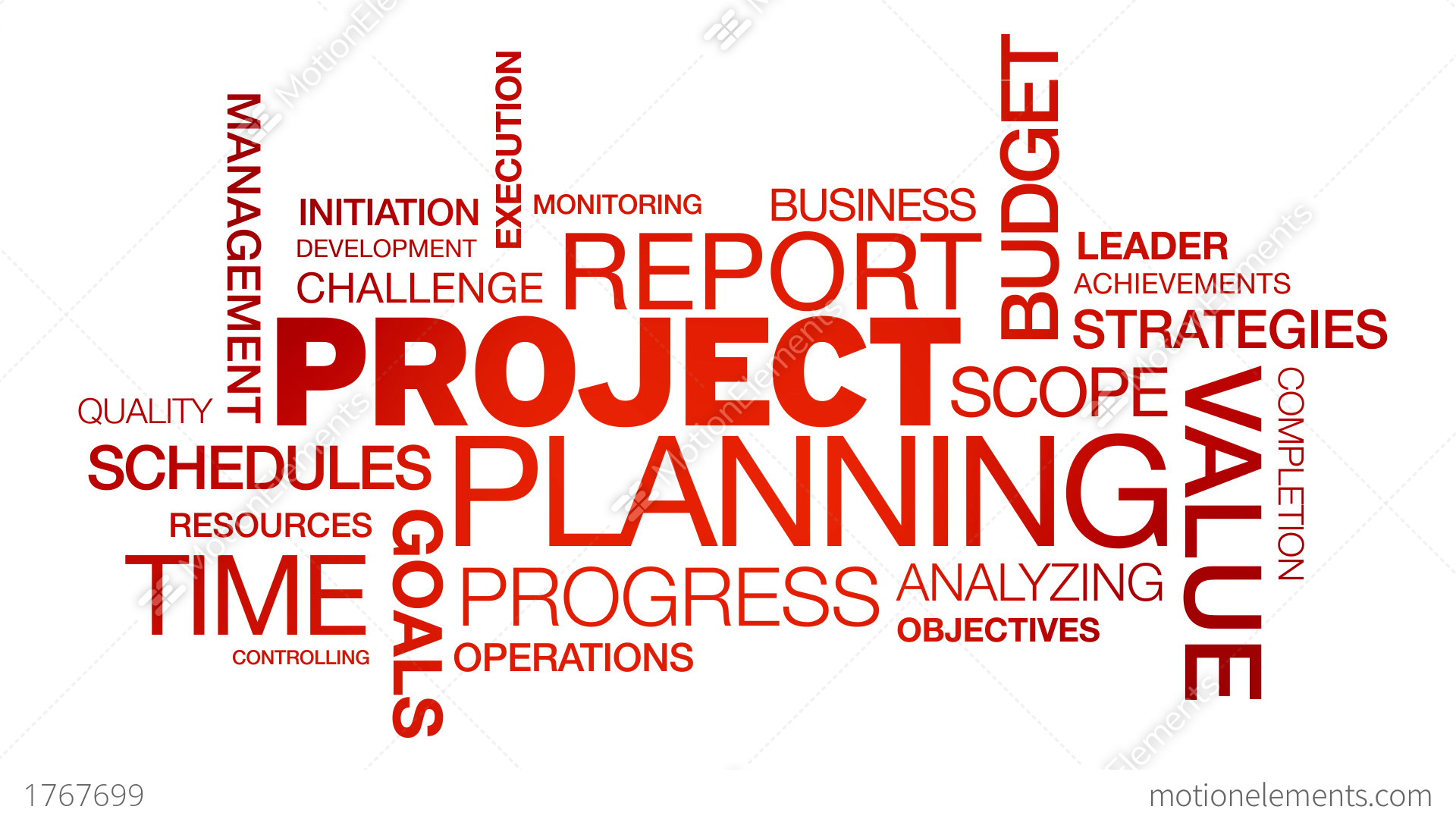 Project Planning Word Cloud Animation Stock