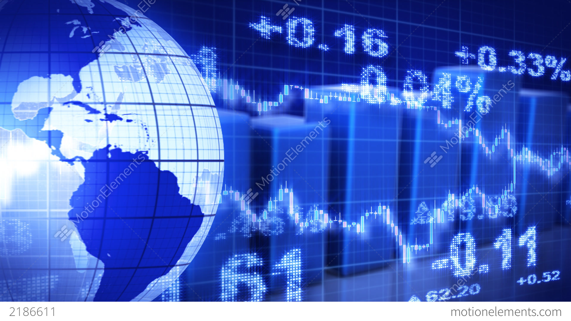 Globe And Graphs Blue Stock Market Loopable Backgr Stock