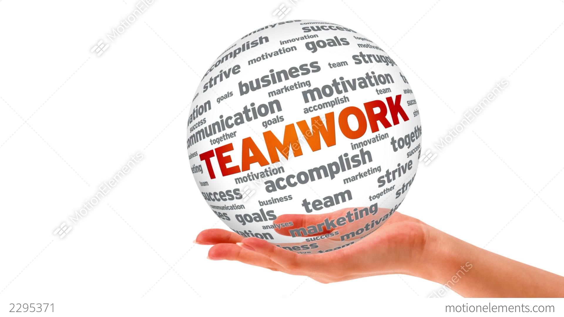 teamwork word sphere stock animation 2295371
