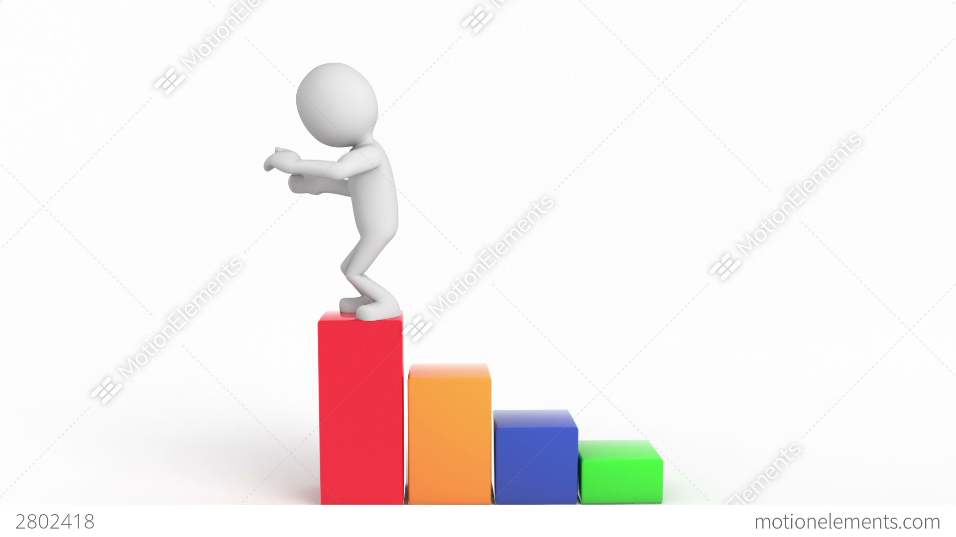 Upward Trend With 3d Character, Human Stock Animation