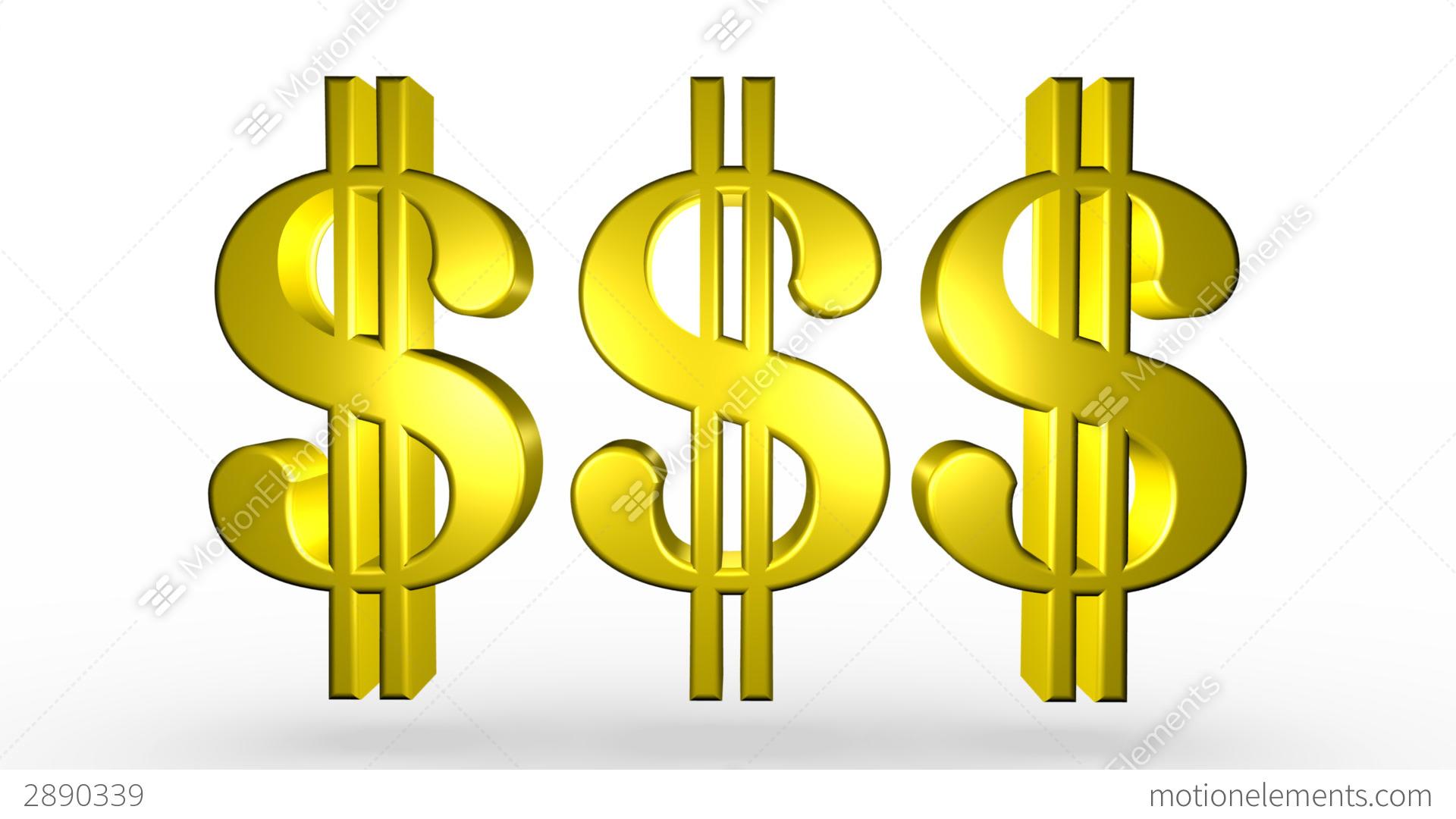 three golden dollar signs stock animation 2890339