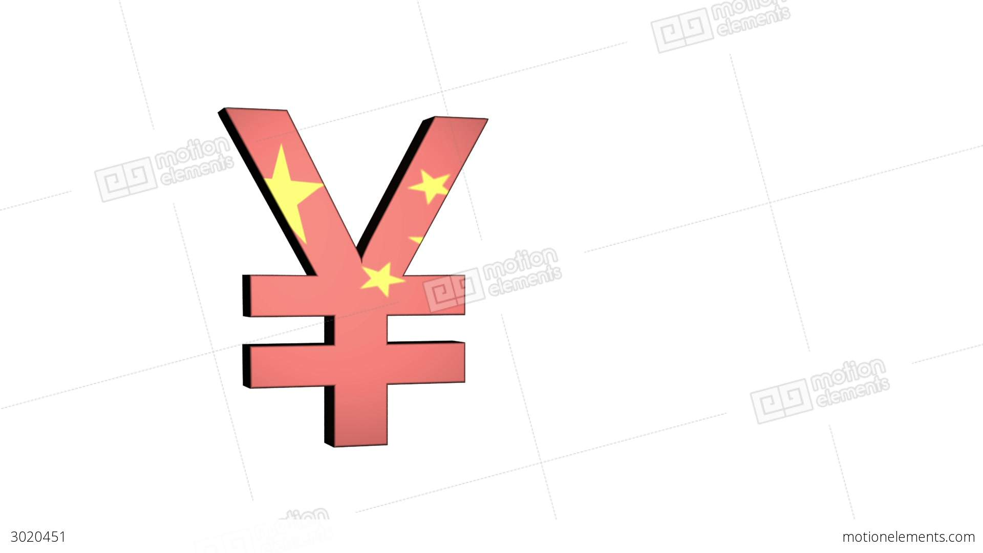 Chinese Yuan Renminbi Flag Reflection Stock Animation 3020451