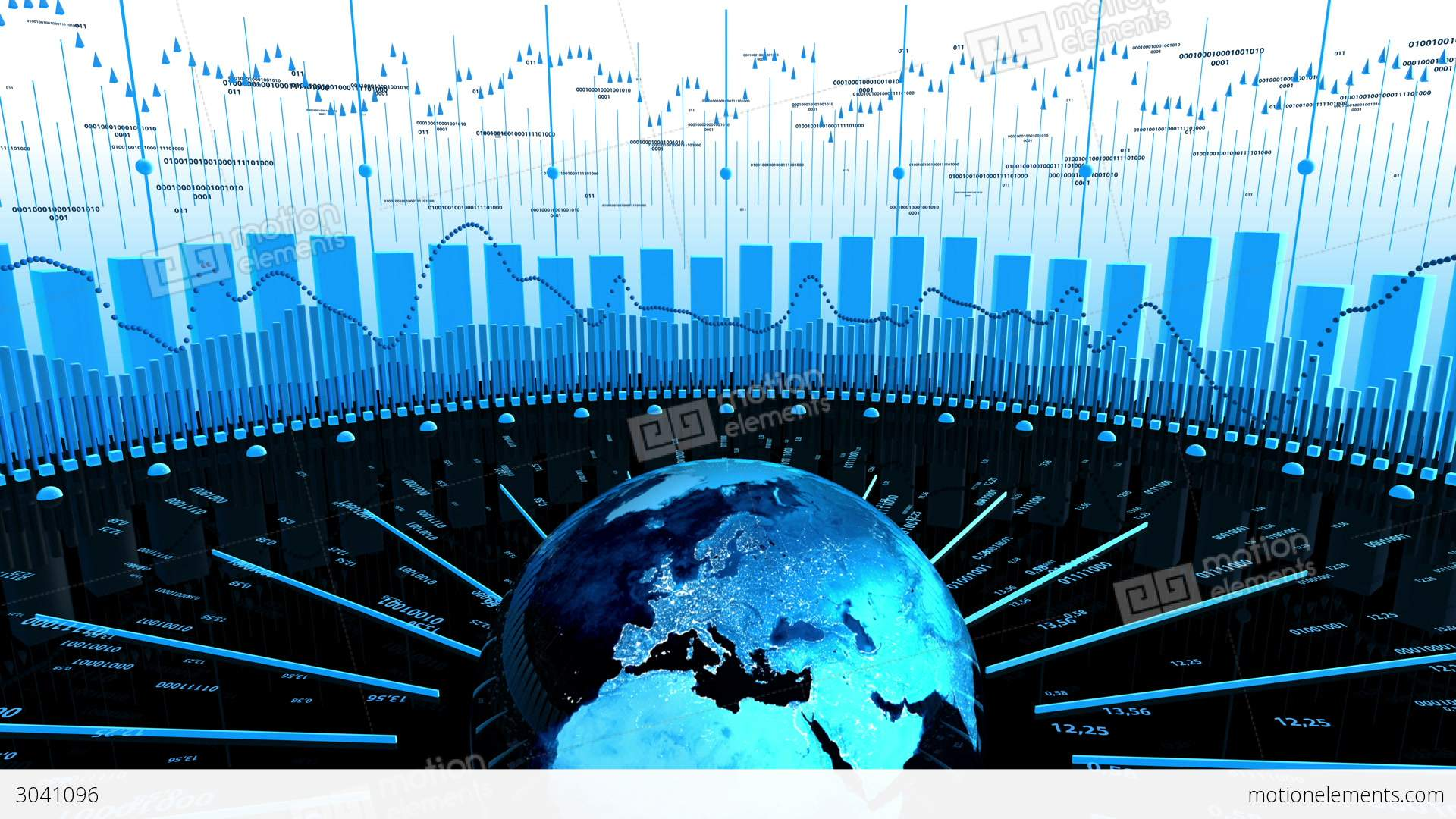 world stock market business data stock animation | 3041096