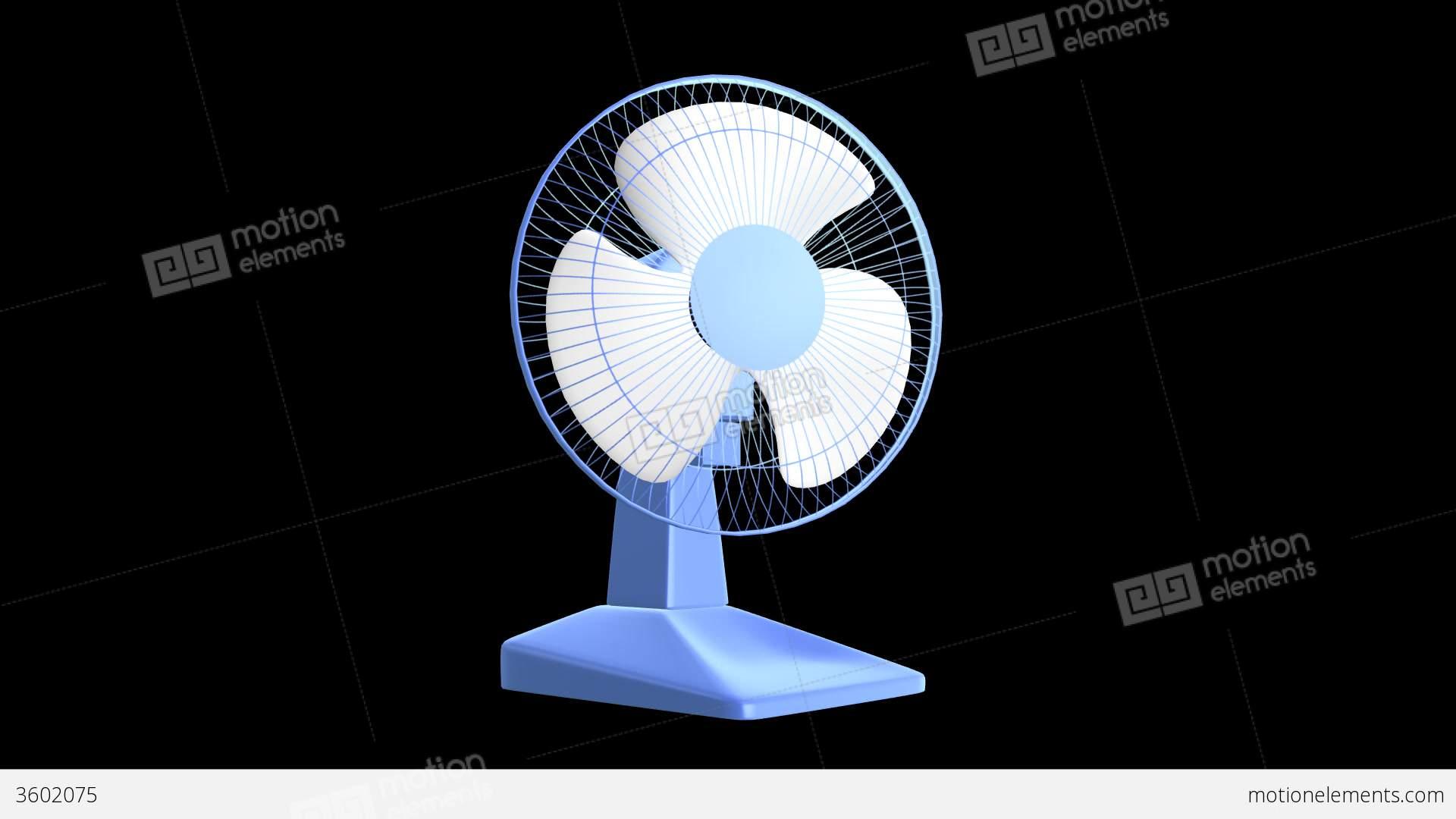 Animated Desk Fan : Desk fan blue plastic loop alpha soun stock