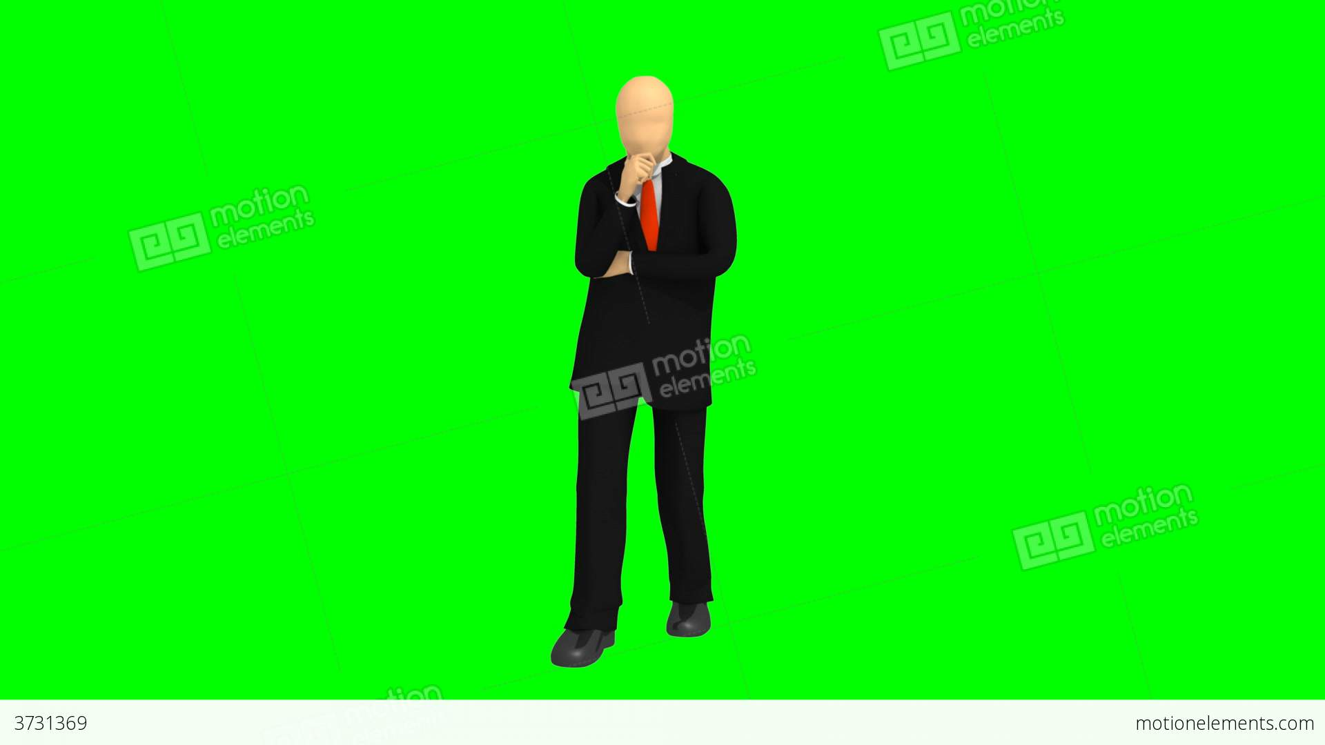 Computer Animation Showing 3d Man Thinking Stock Video Footage