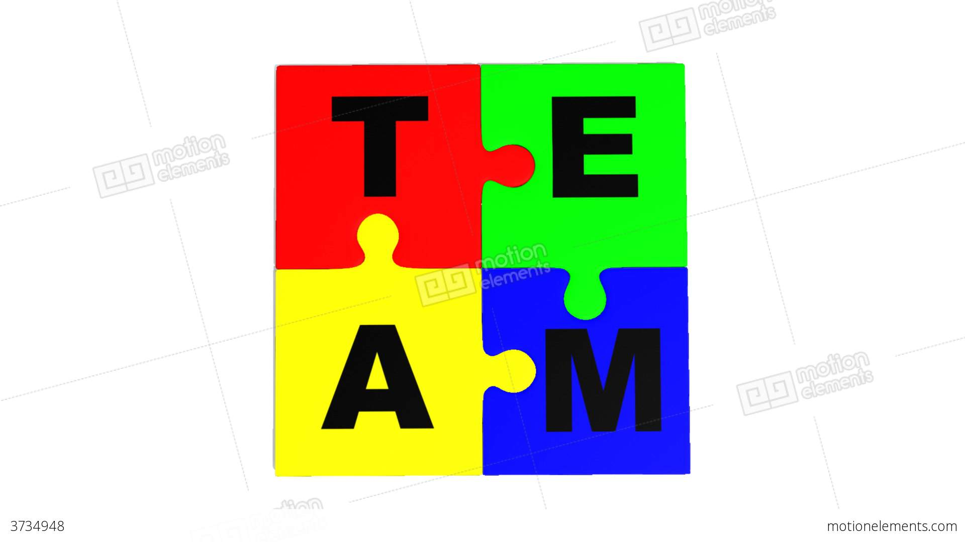 P Design: 3d Puzzle Falling Showing The Word Team Stock Animation
