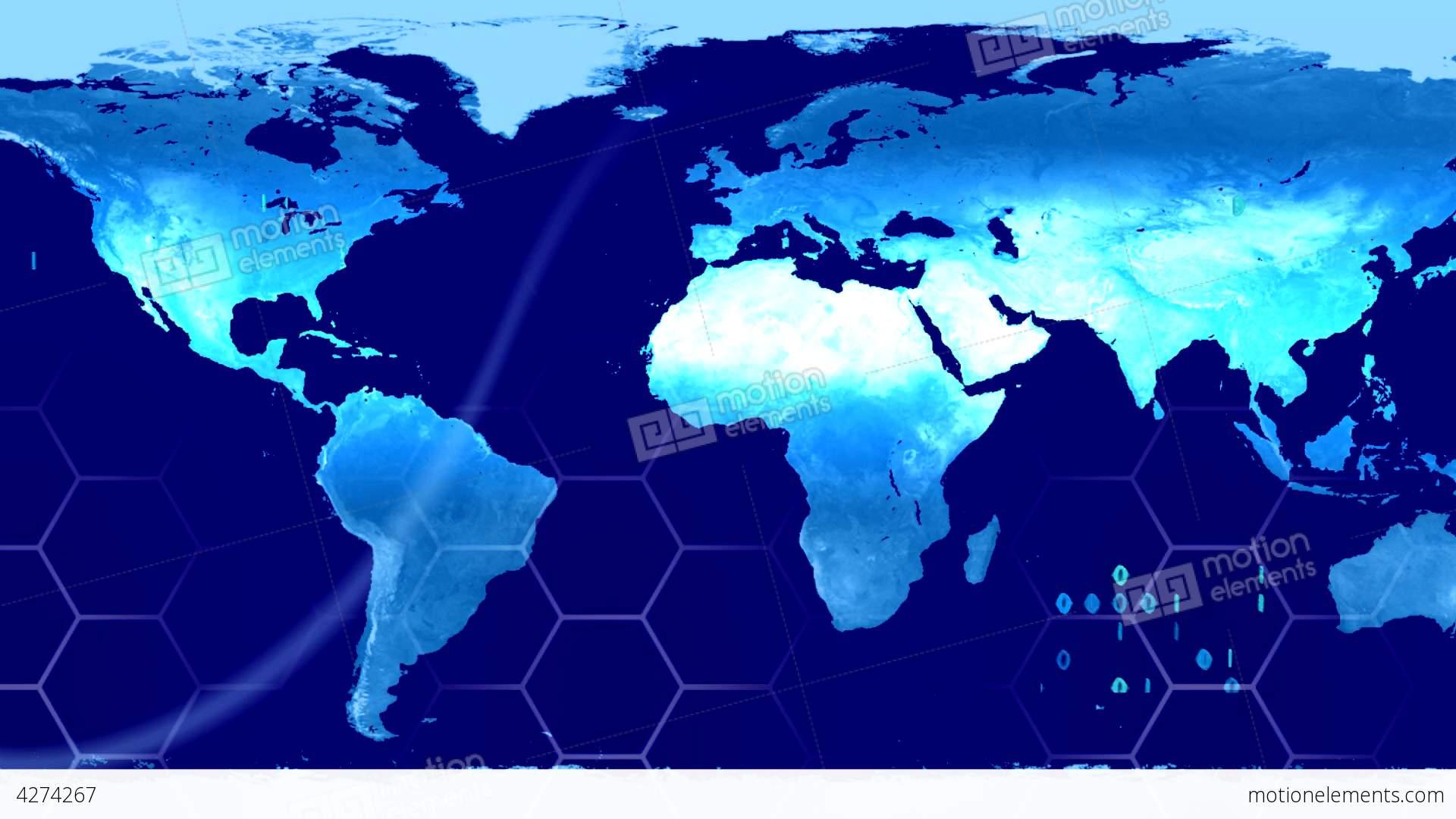 World Map High Tech Digital Satellite Data View Wa Stock Animation - World map satellite hd