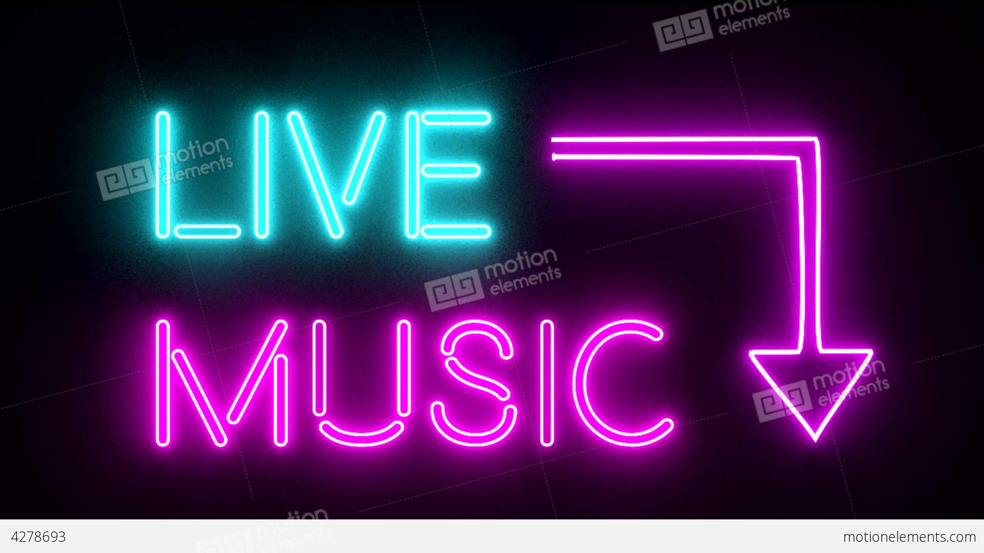 live music neon sign lights logo text glowing mult stock