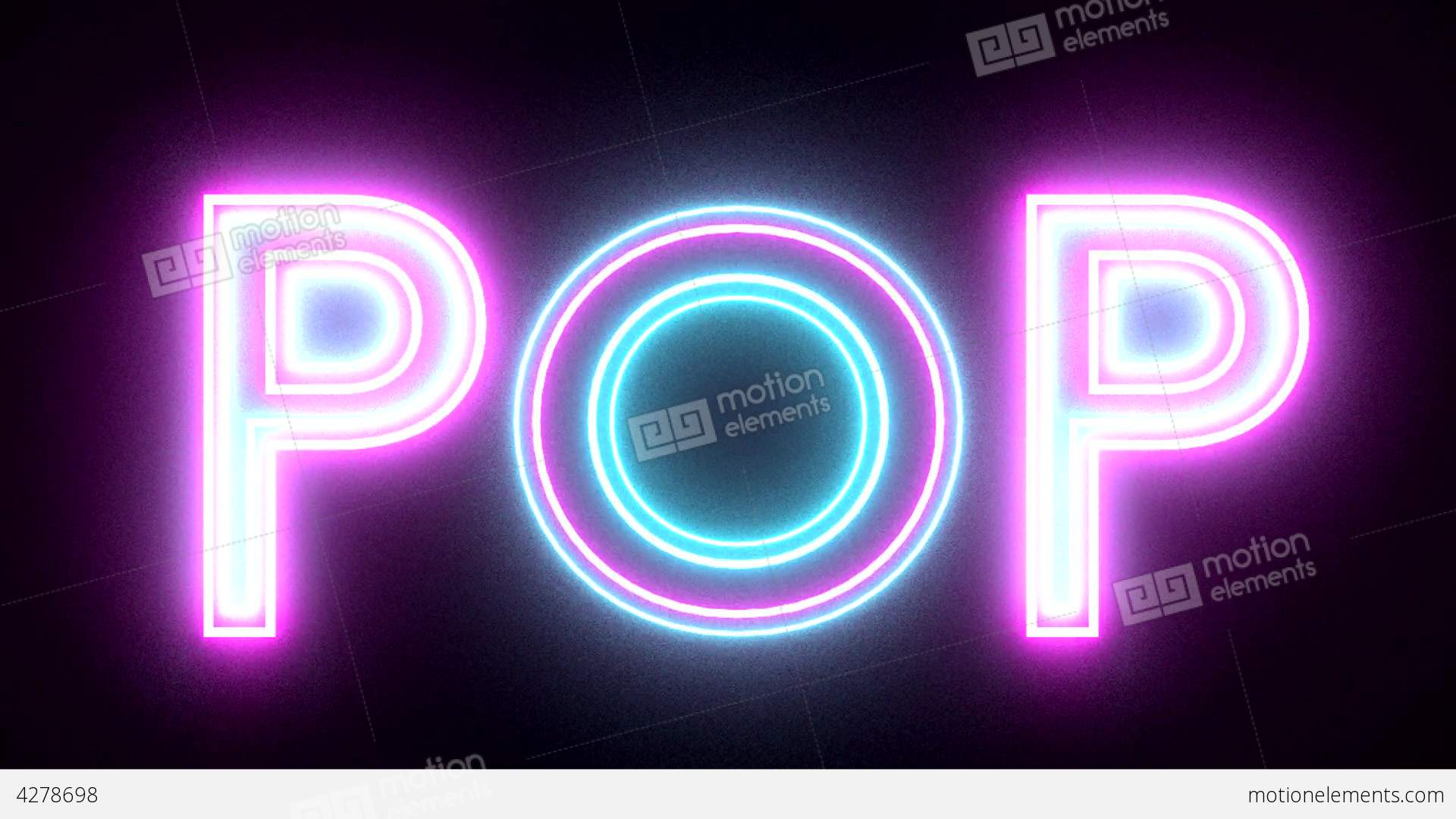 Pop Neon Sign Lights Logo Text Glowing Multicolor Stock