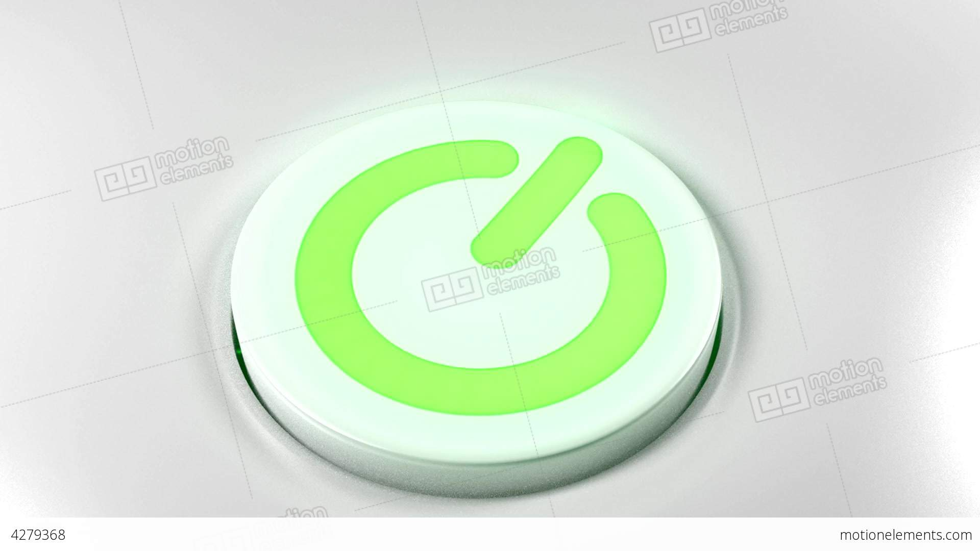 Power Button Switch Turn Off Green Stock Animation
