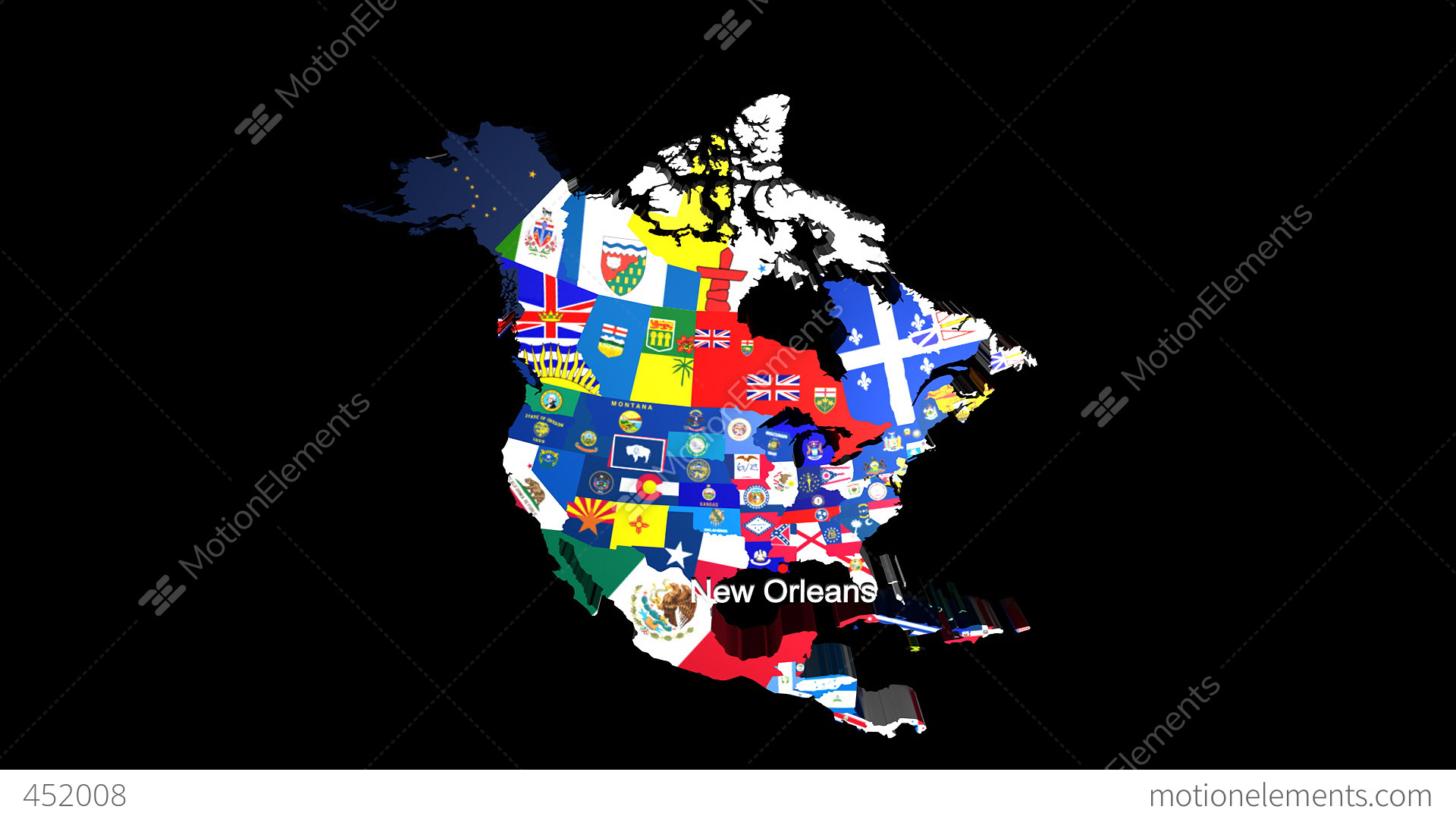 D USA Map With State Flags Zooming Into New Orleans Stock - Globe of usa