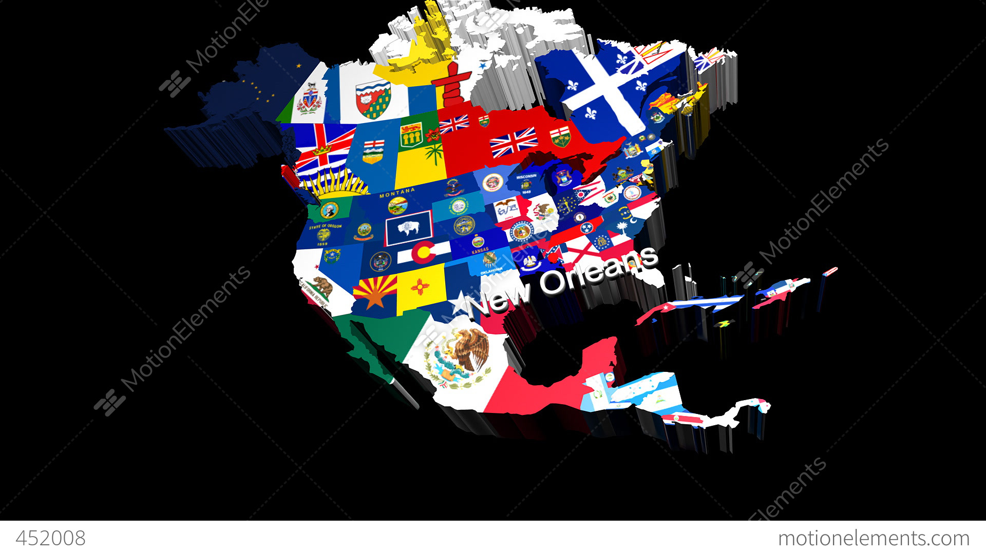 D USA Map With State Flags Zooming Into New Orleans Estoque Da - 3d map usa states