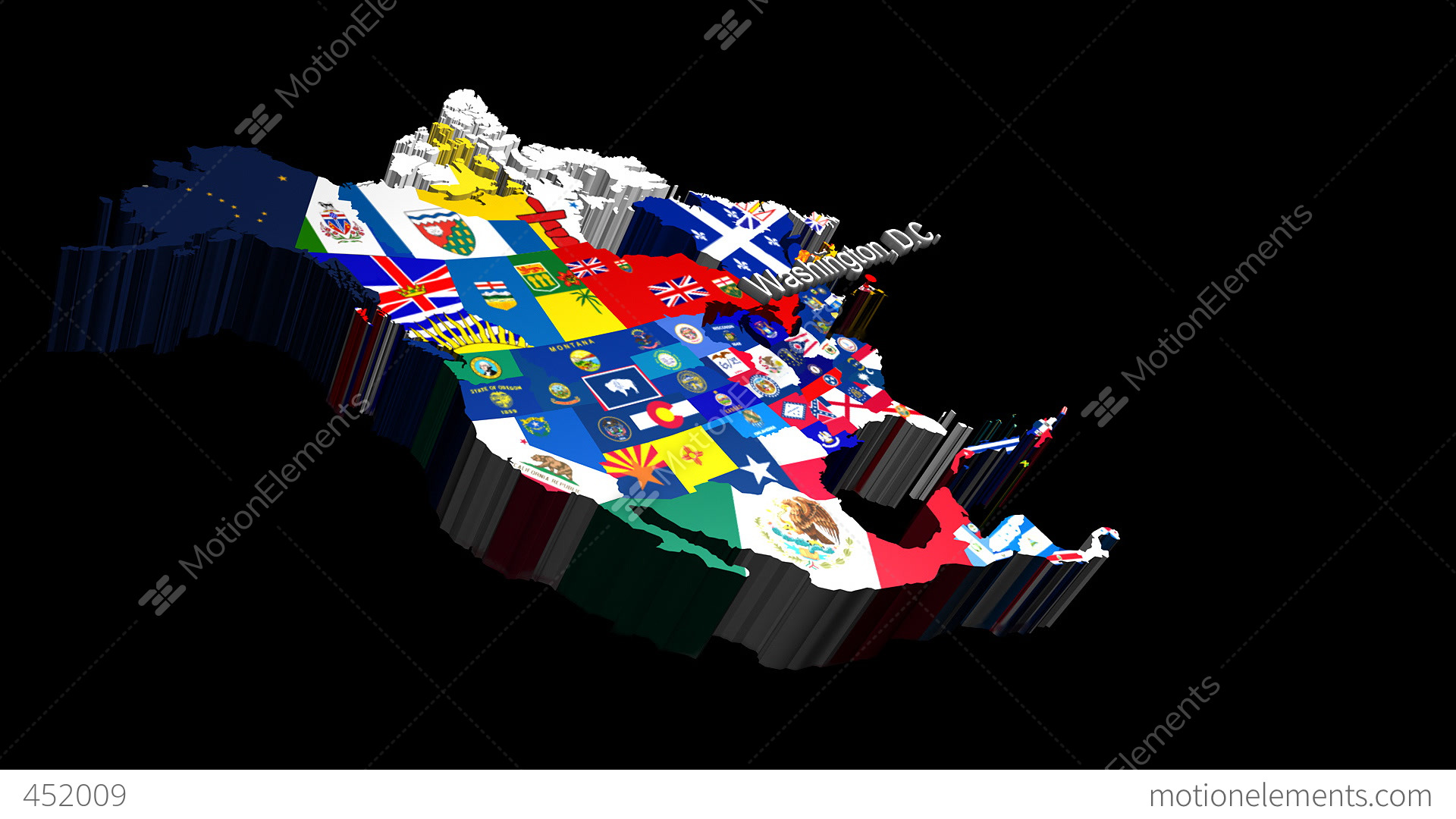 D Map Of USA With State Flags Zooming Into Washington Stock - Washington state in usa map
