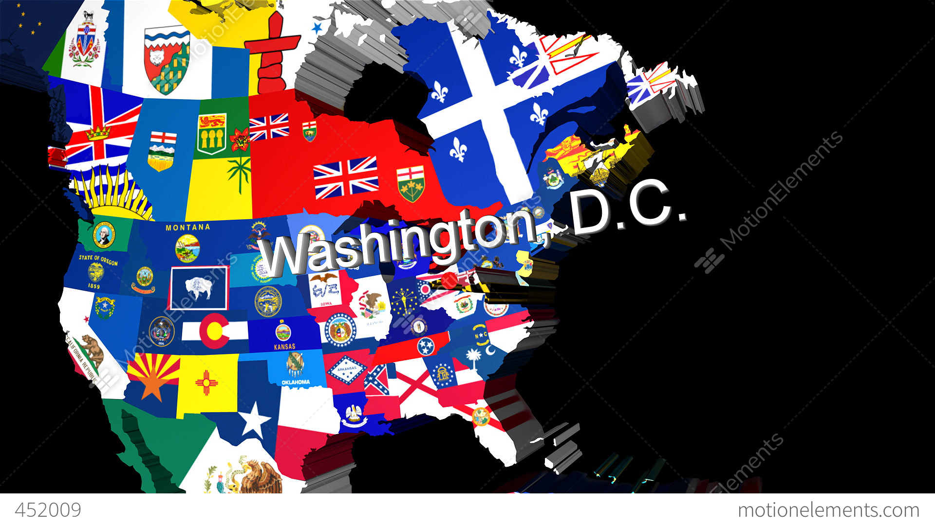 D Map Of USA With State Flags Zooming Into Washington Stock - Free united states map graphic