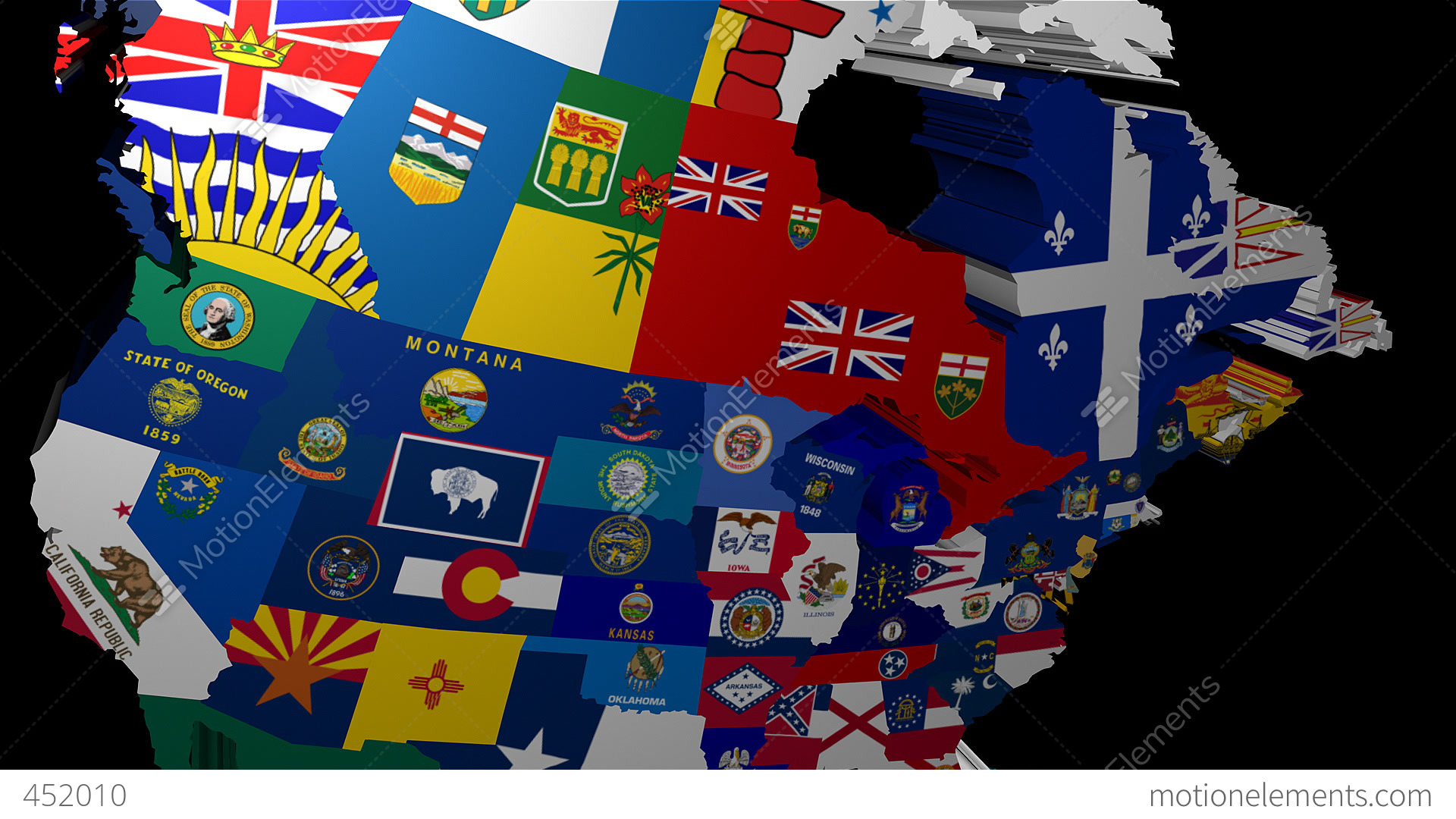 3d map of usa with state flags stock video footage