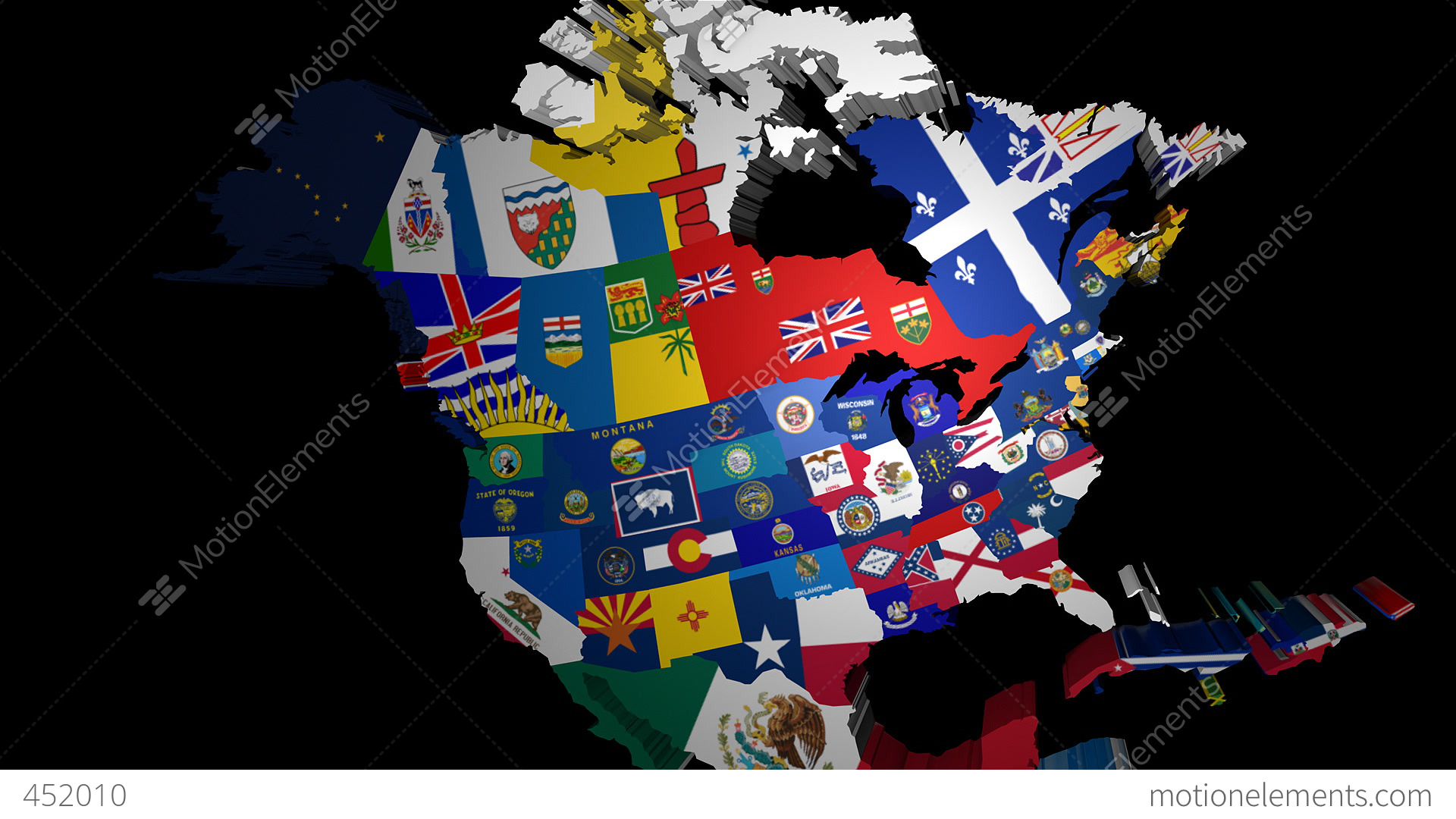 D Map Of USA With State Flags Stock Animation - Monta in us map