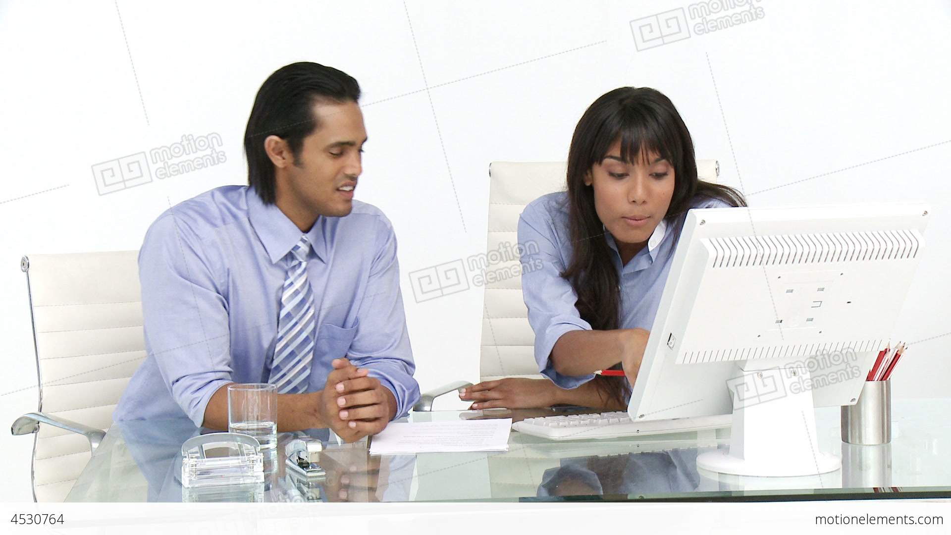 Animated Business People Working At A Computer Stock video ...