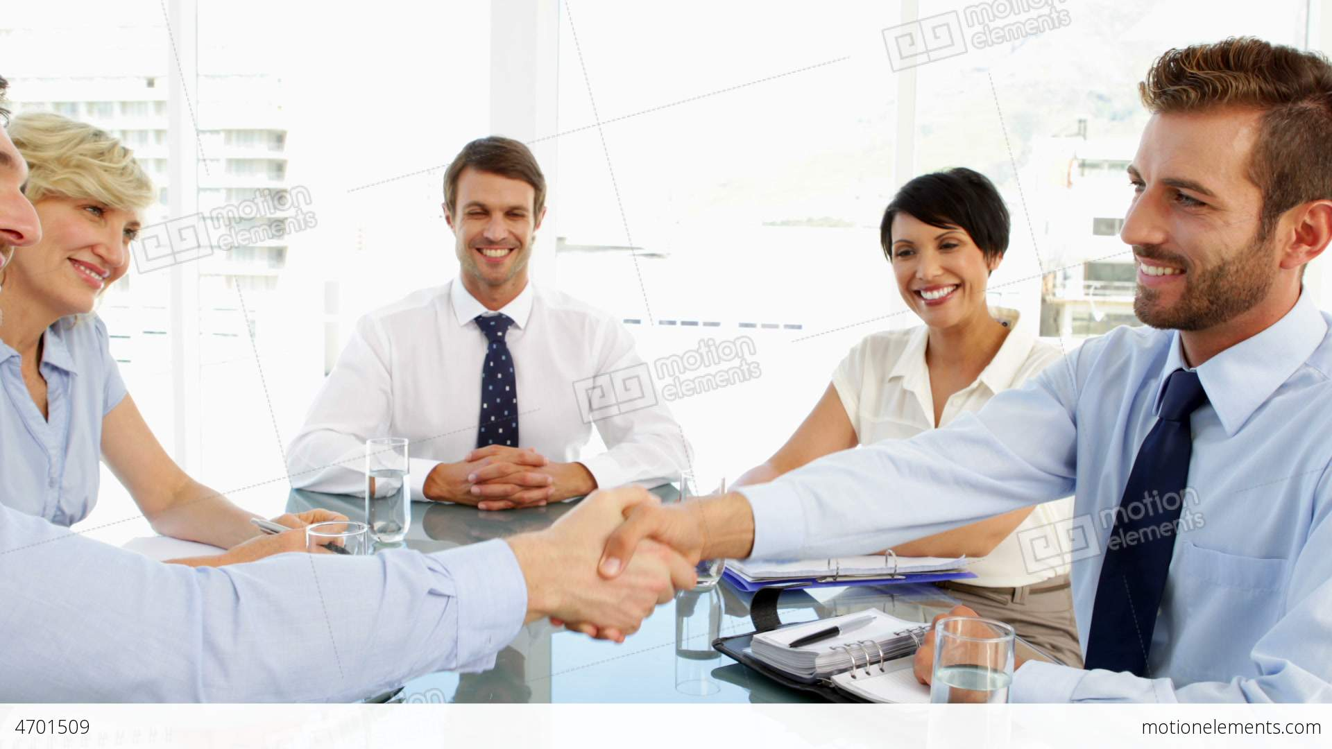 Business People Shaking Hands At A Meeting Stock video ...