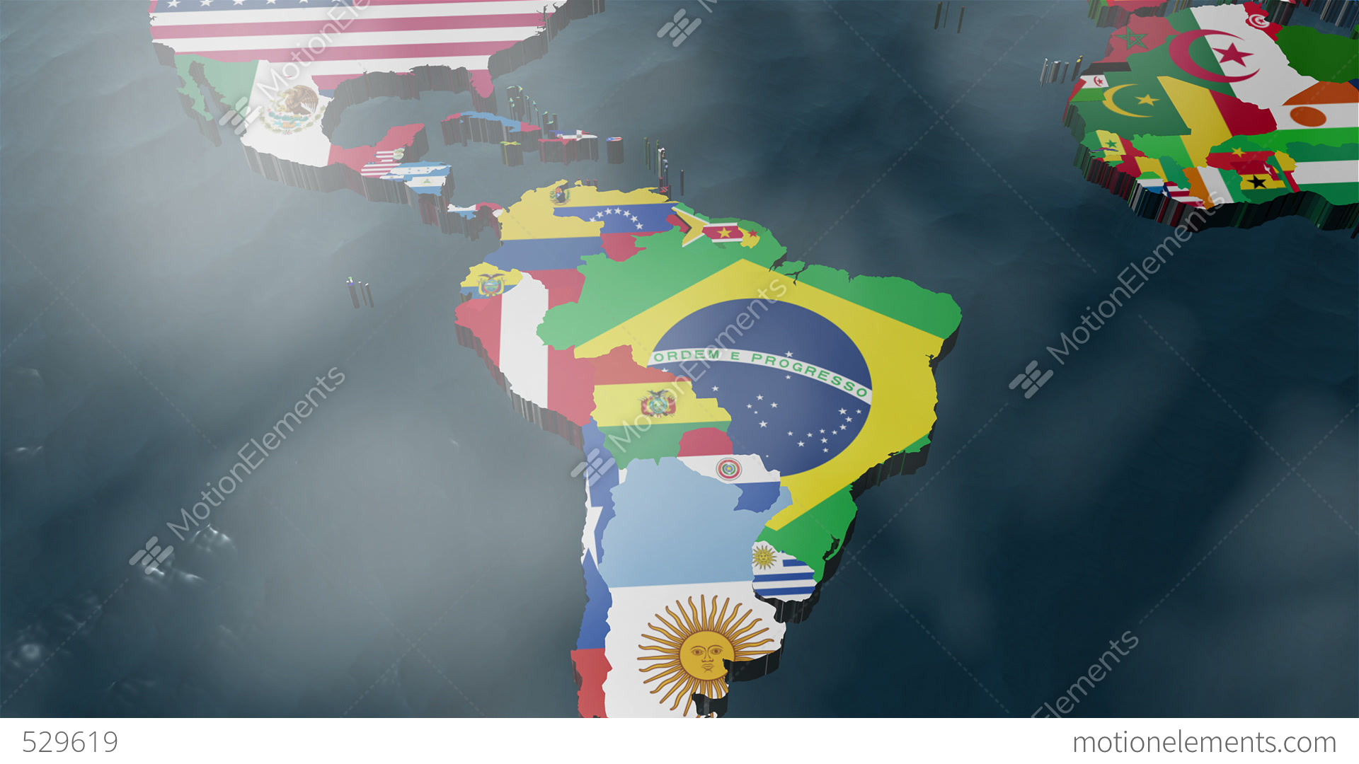 3d world map to south america with clouds stock animation 529619