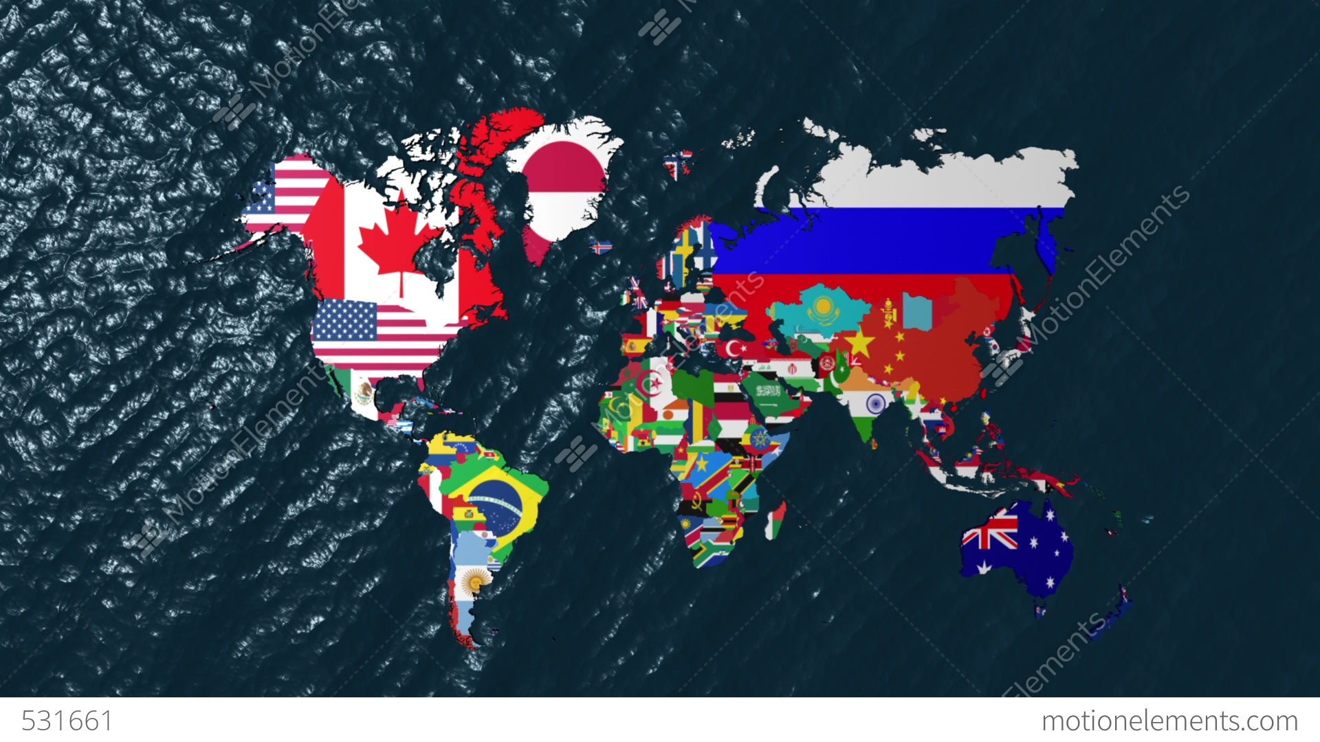 D Wide Flag World Map Zoom To USA Stock Animation - Us flag and map