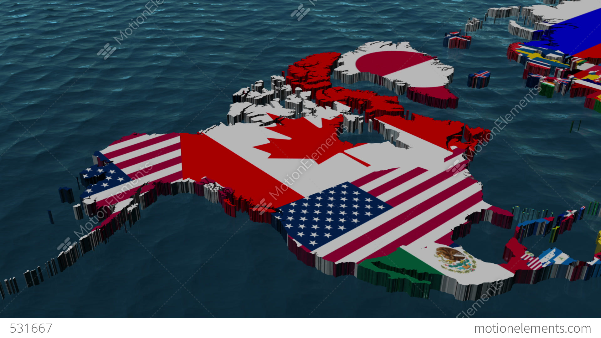 3D Flag World Map Zoom to USA