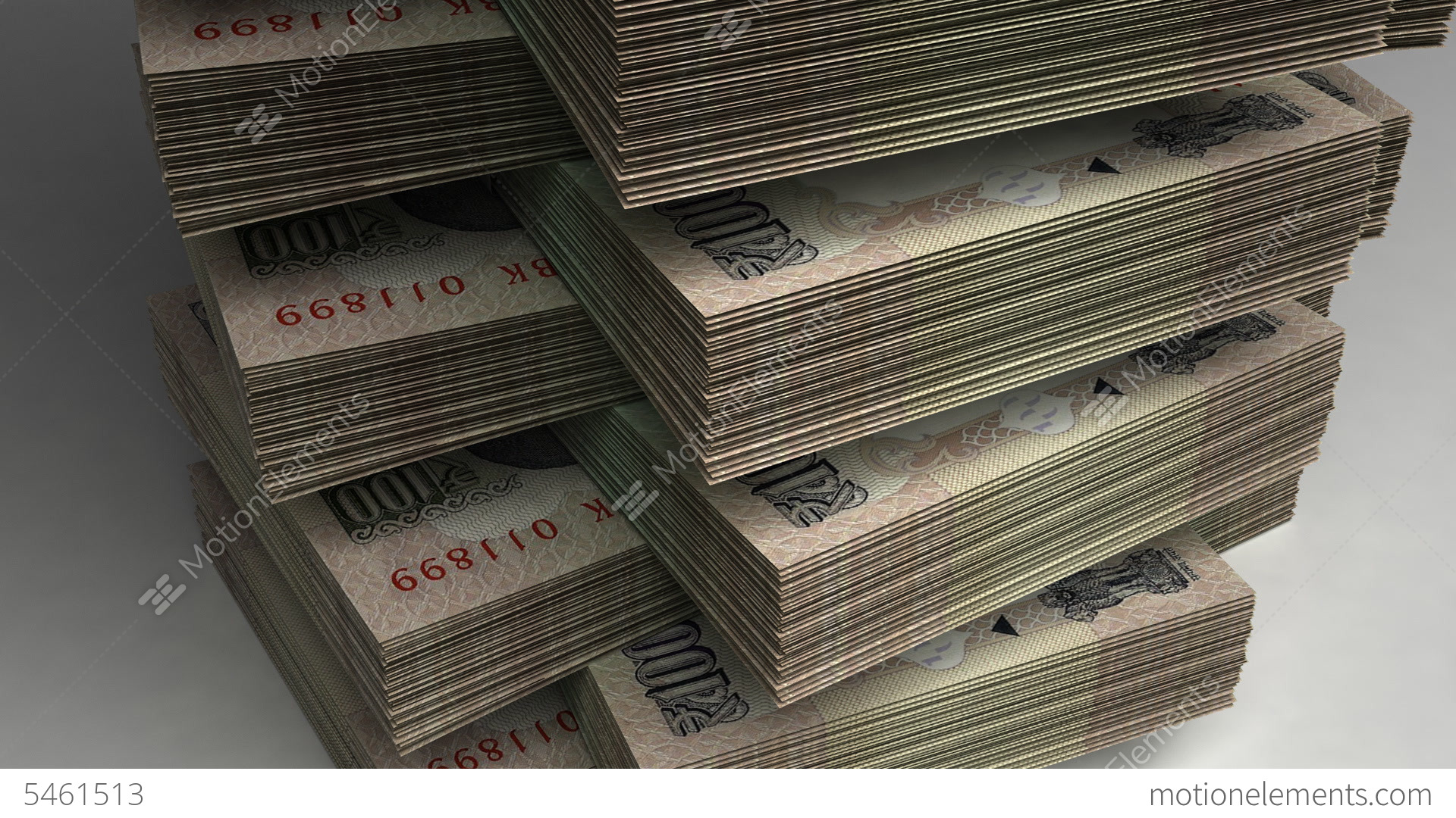 Stack Of Indian Rupee Stock Animation