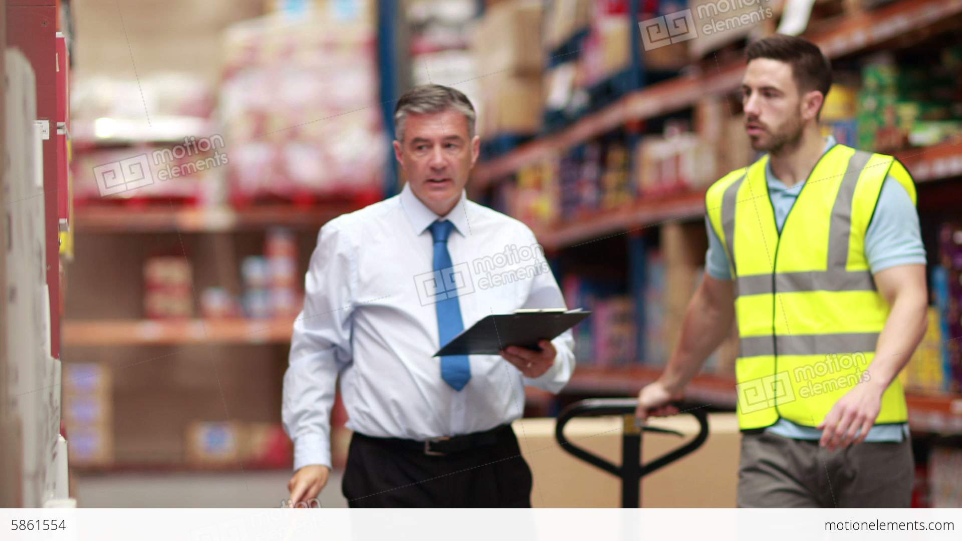 Warehouse worker talking with his manager stock video footage warehouse worker talking with his manager stock video footage sciox Choice Image