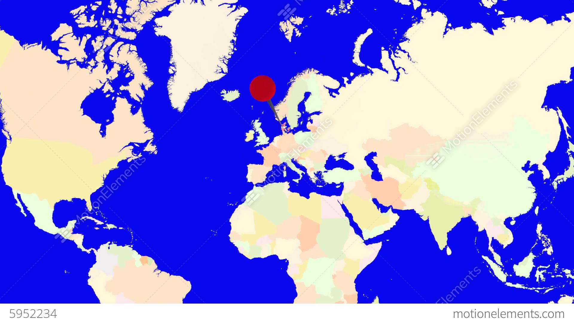 Worldmap Zooms To Denmark Stock Animation 5952234