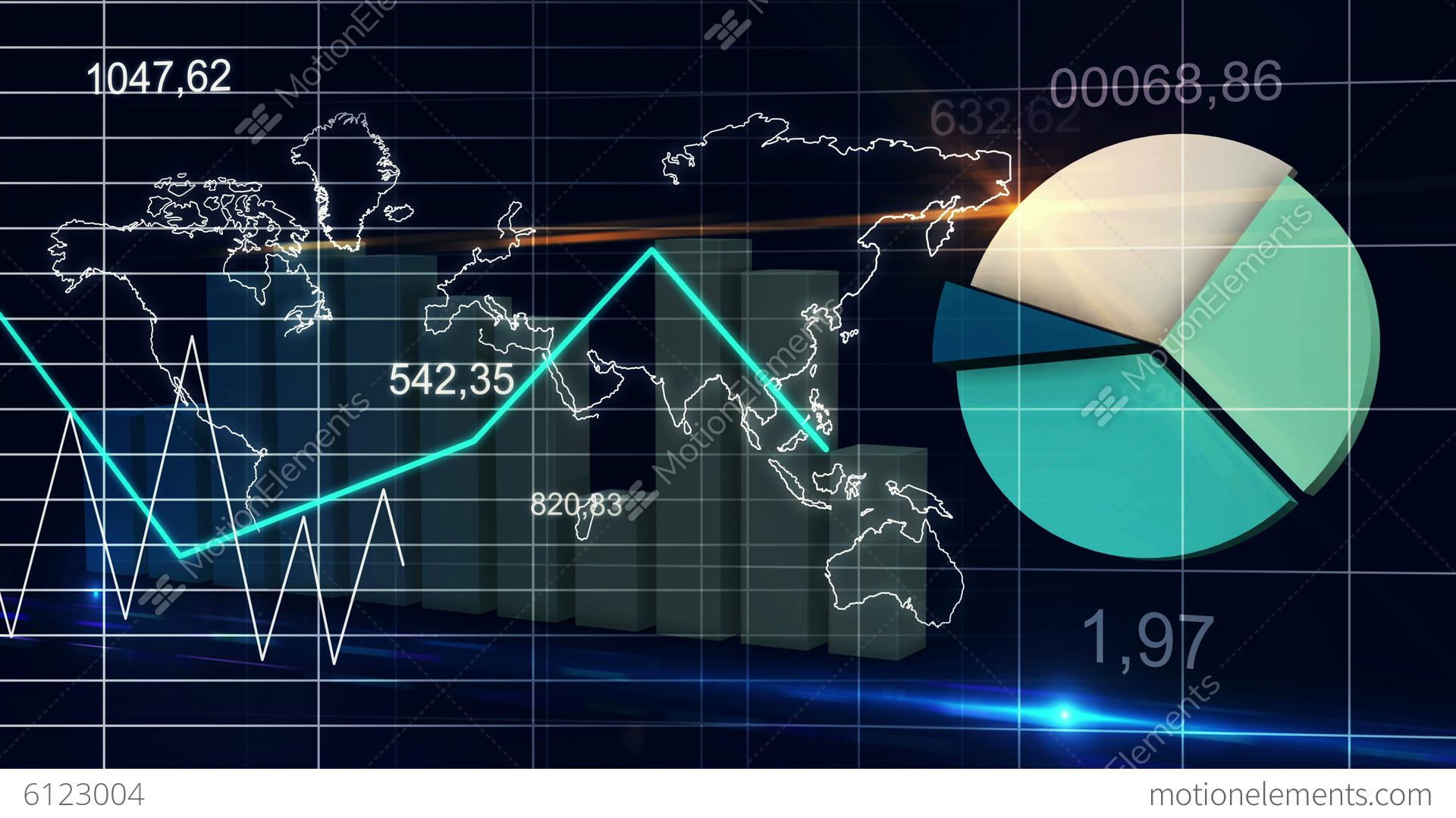 World Map Statistic Data Graph Dark Blue Loop Fina Stock