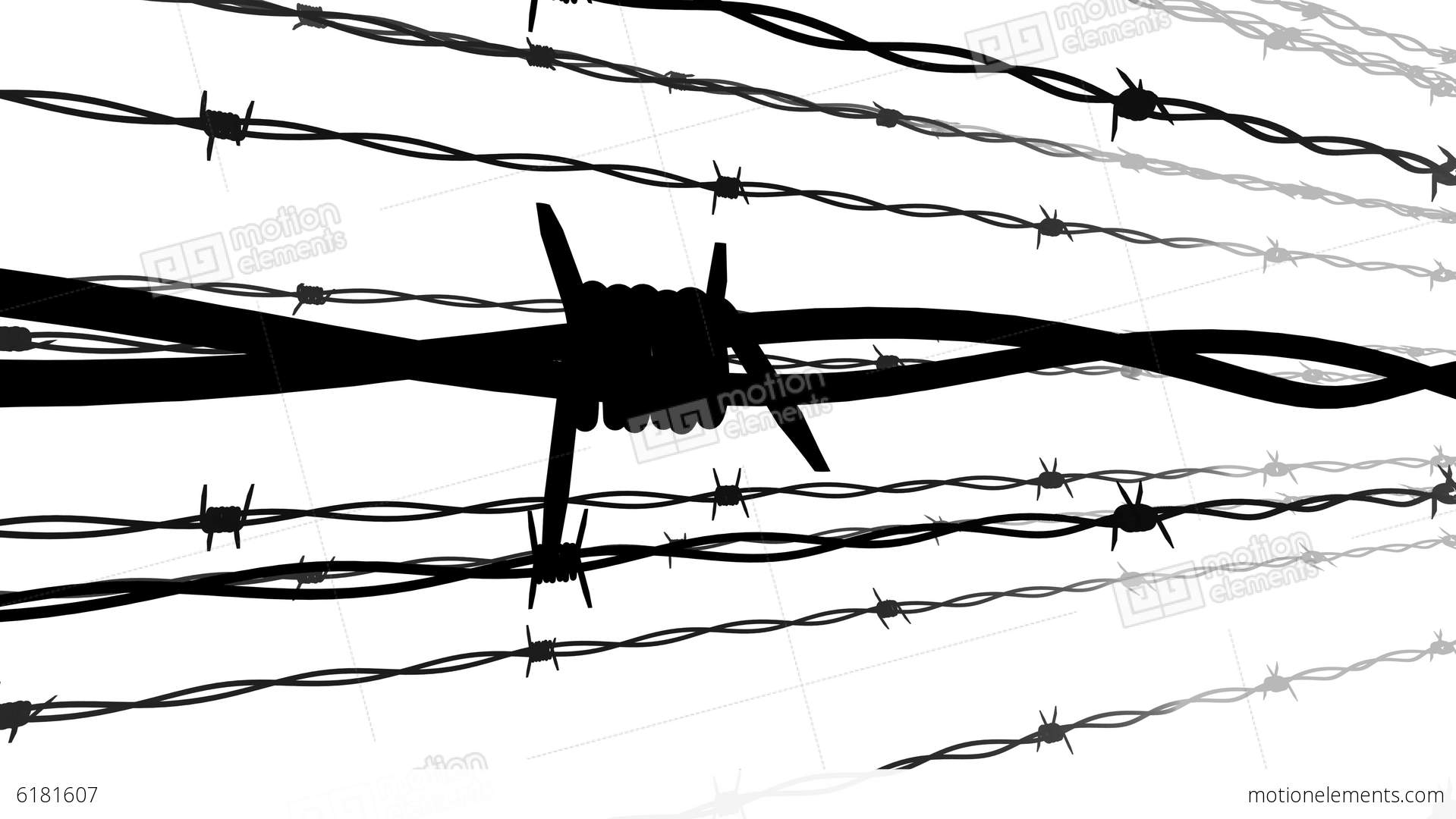 silhouette of the barbed wire stock animation