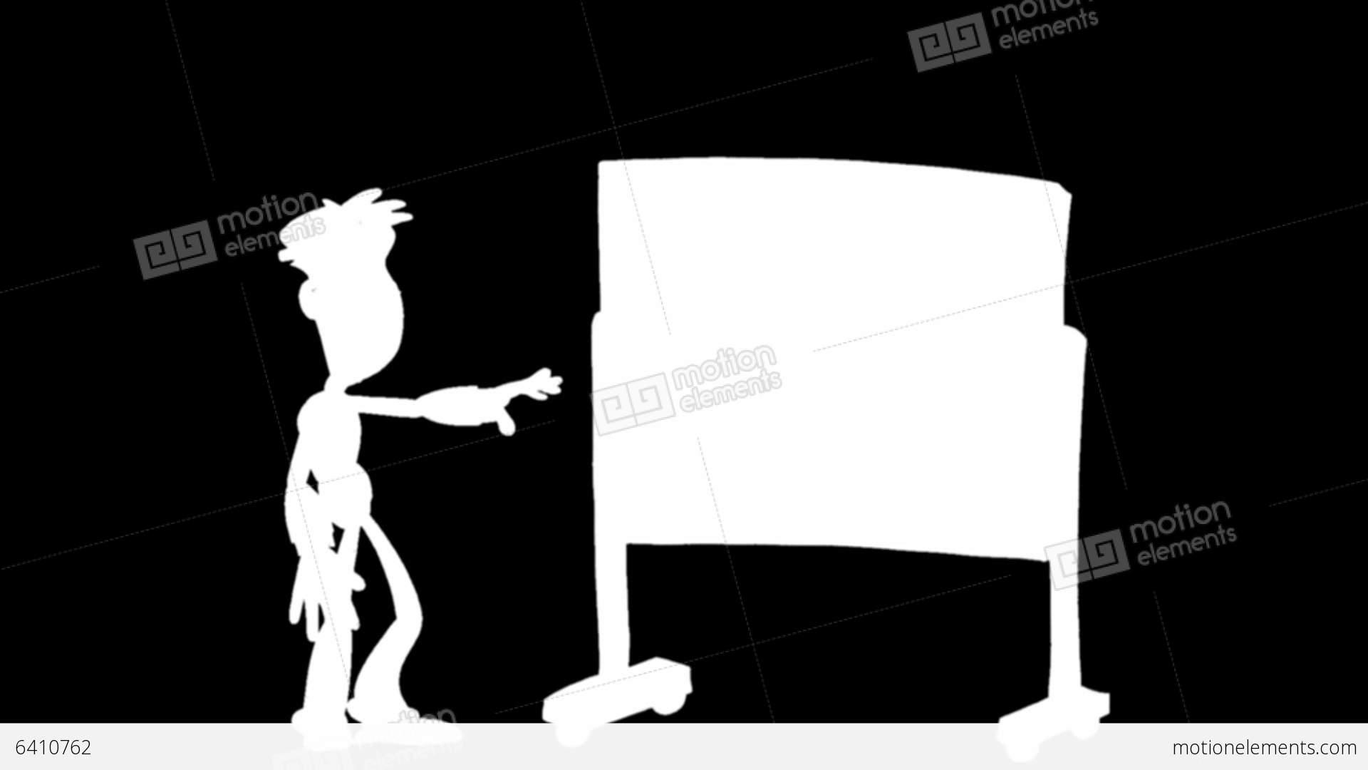 cartoon man presentation on blackboard matte stock animation 6410762