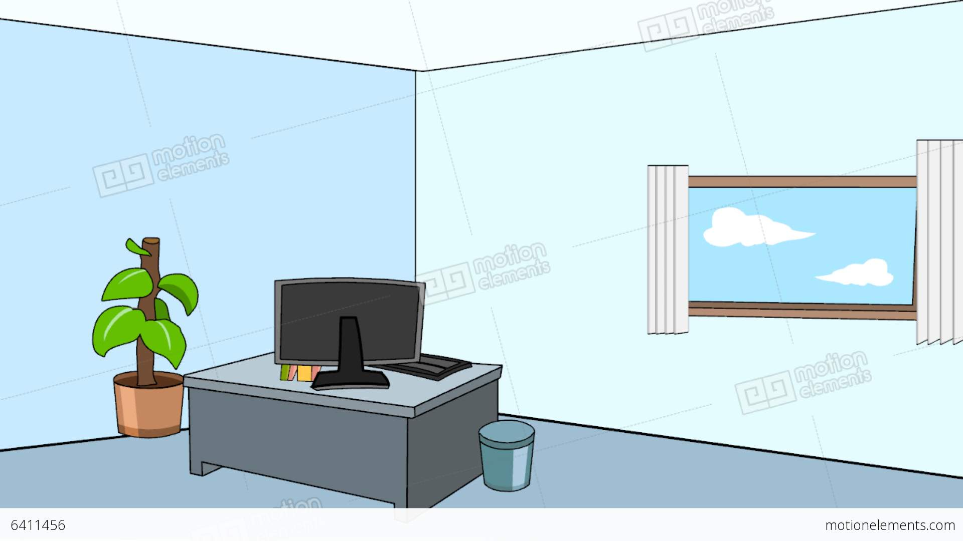 cartoon office scene static looping stock animation