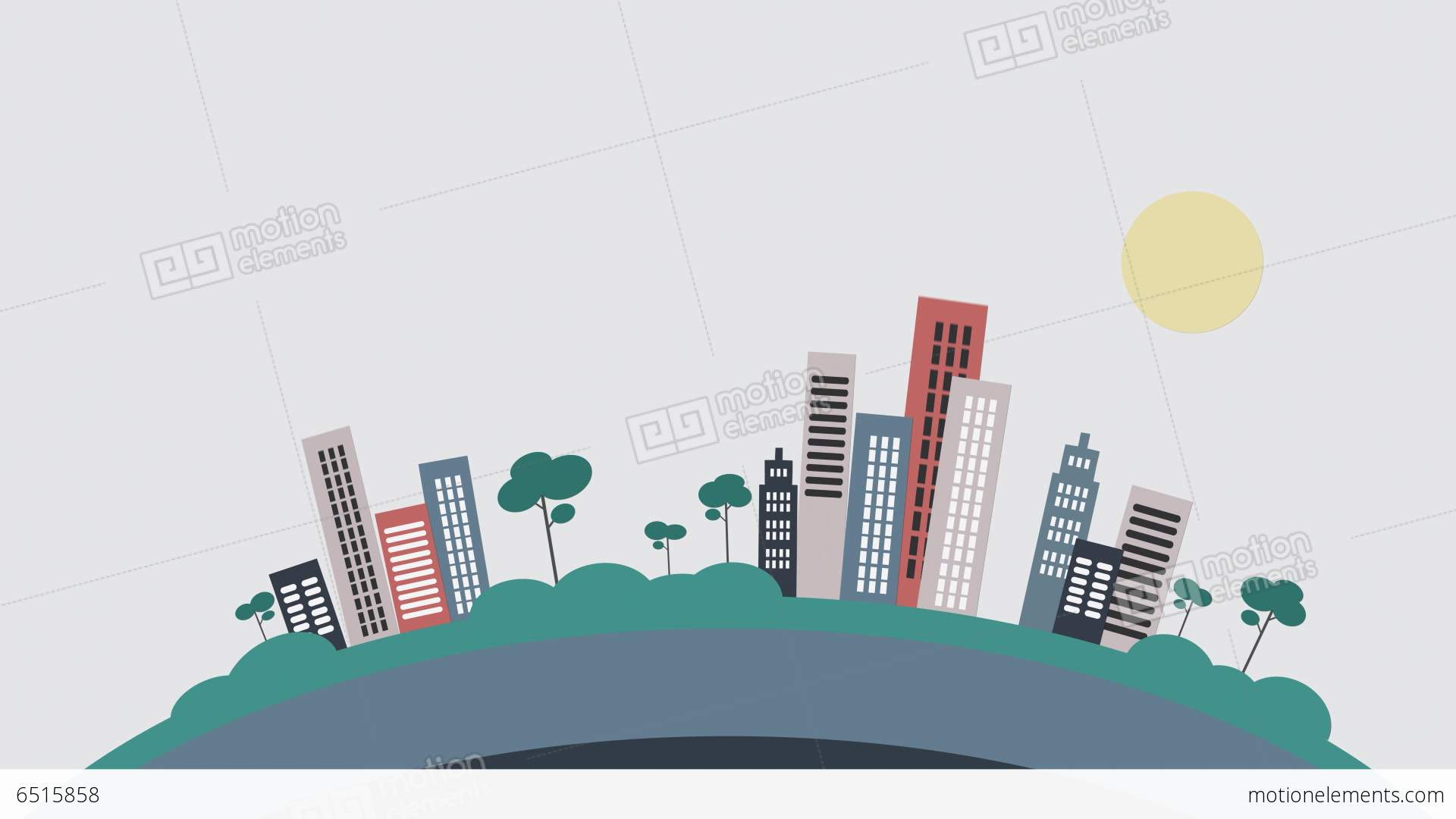 Popping Buildings Flat Design Stock Animation 6515858