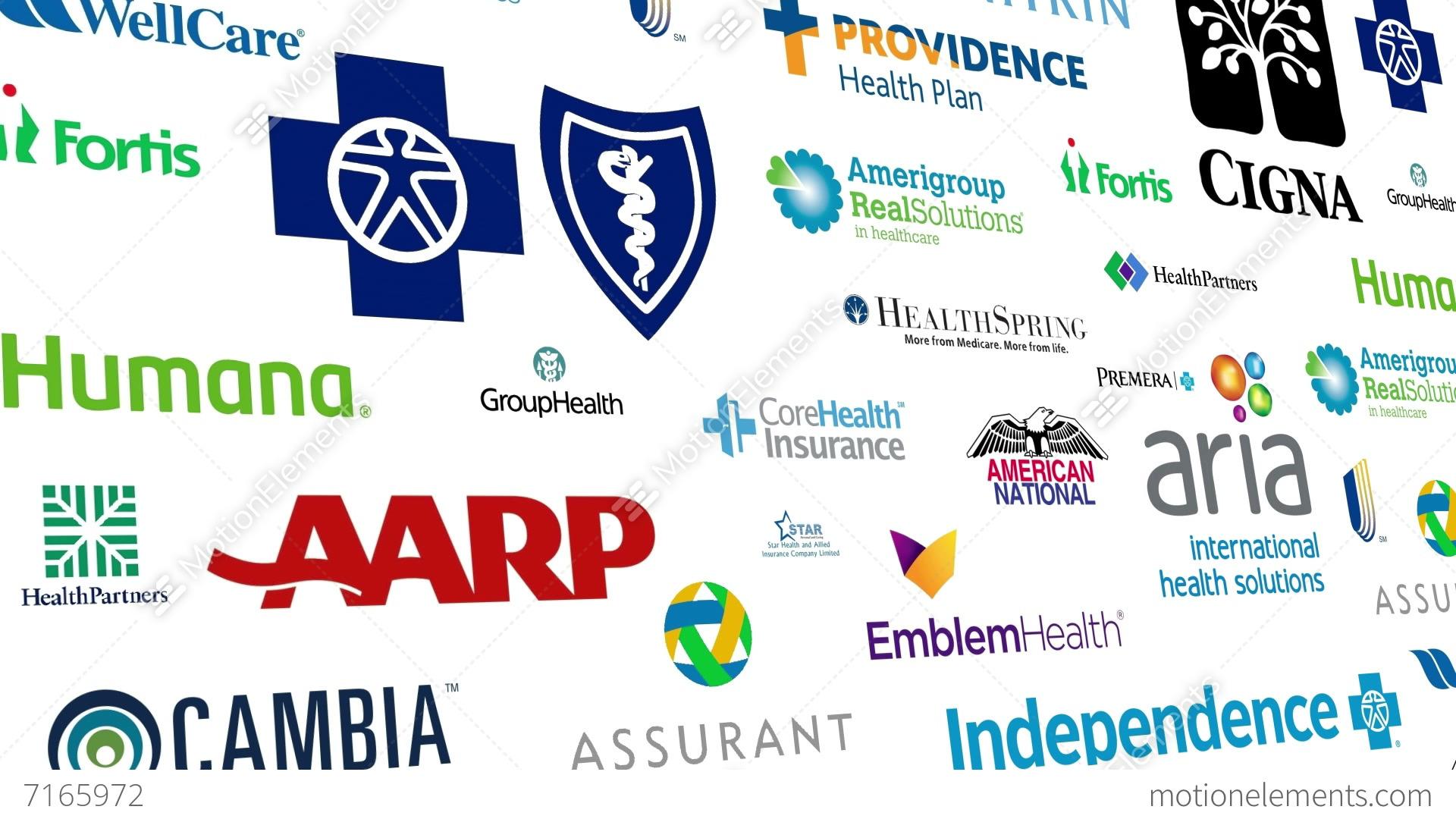 Health Insurance Brands Logo Loop Stock Animation 7165972