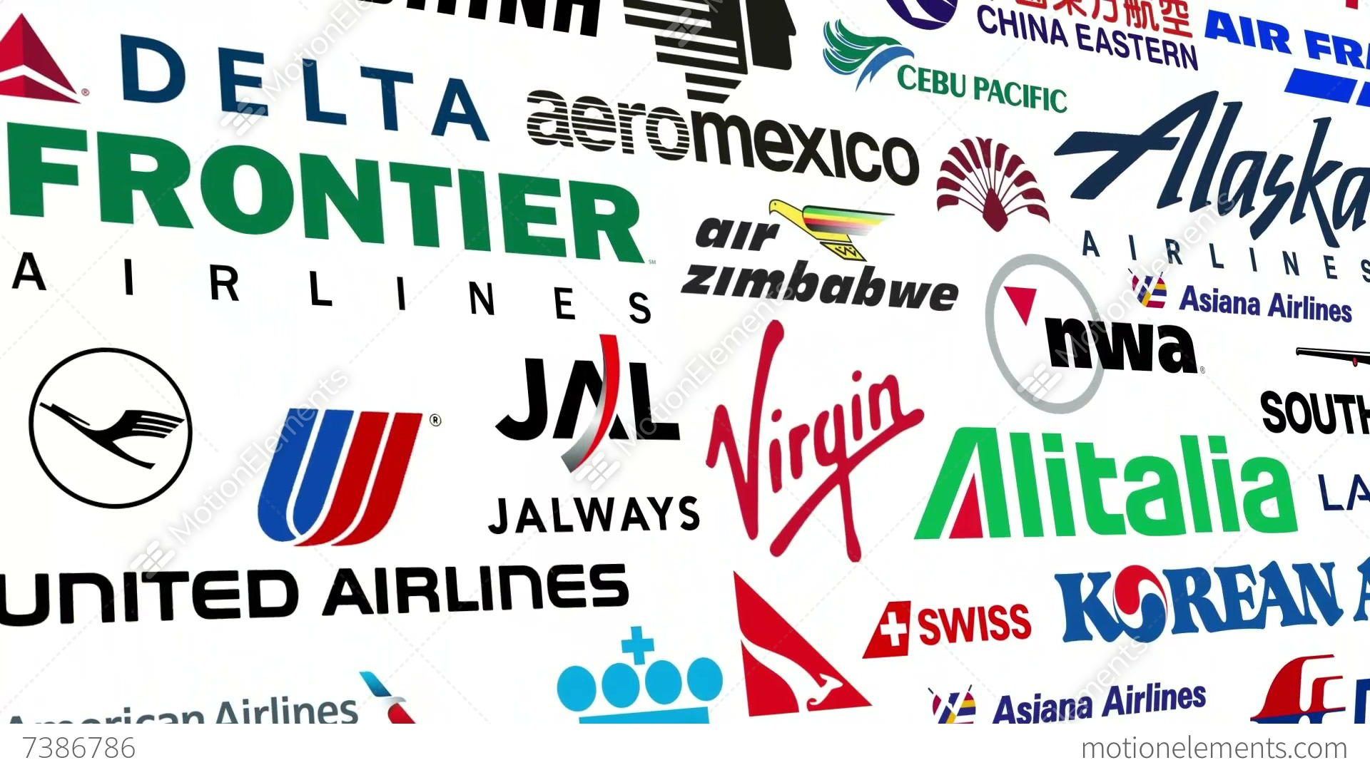 Reverse Airline Brands Logo Loop Stock Animation 7386786