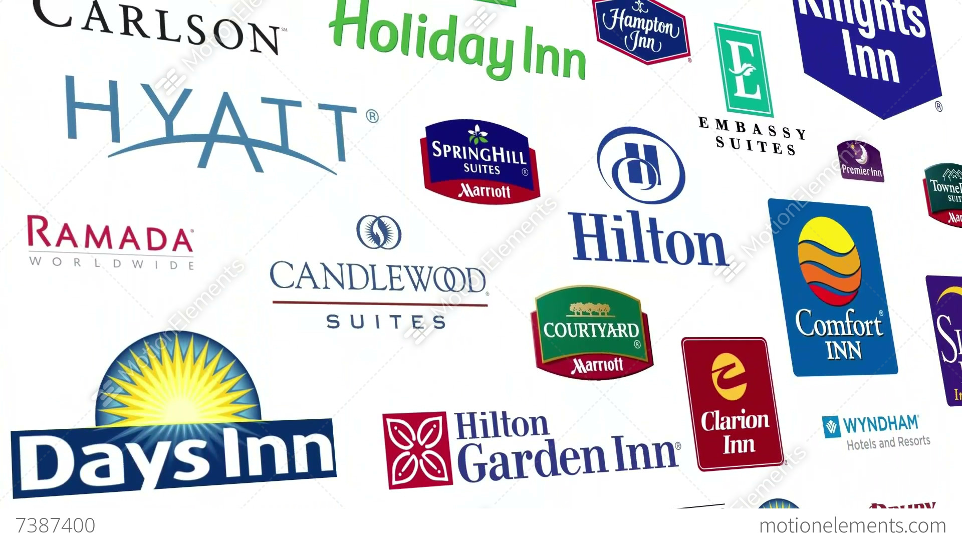 Reverse Hotel Brands Logo Loop Stock Animation 7387400