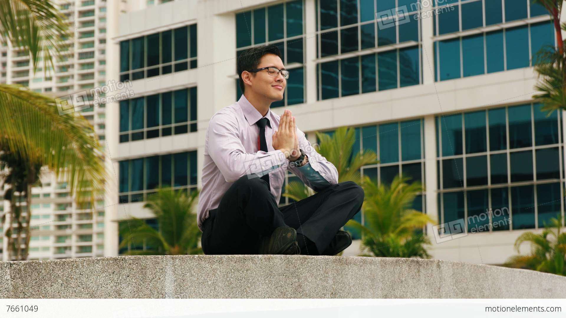 meditation in office. chinese businessman meditating yoga outside office duringstock video footage meditation in