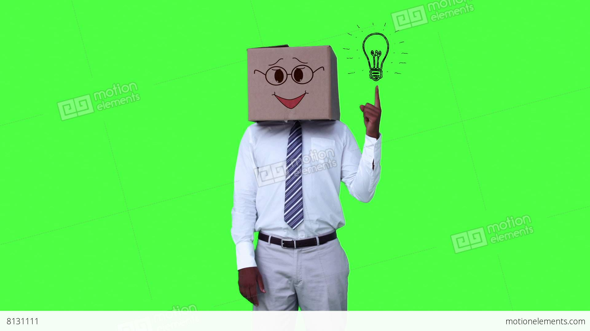 Happy Anonymous Businessman With Box On Head And Pointing Stock Video Footage