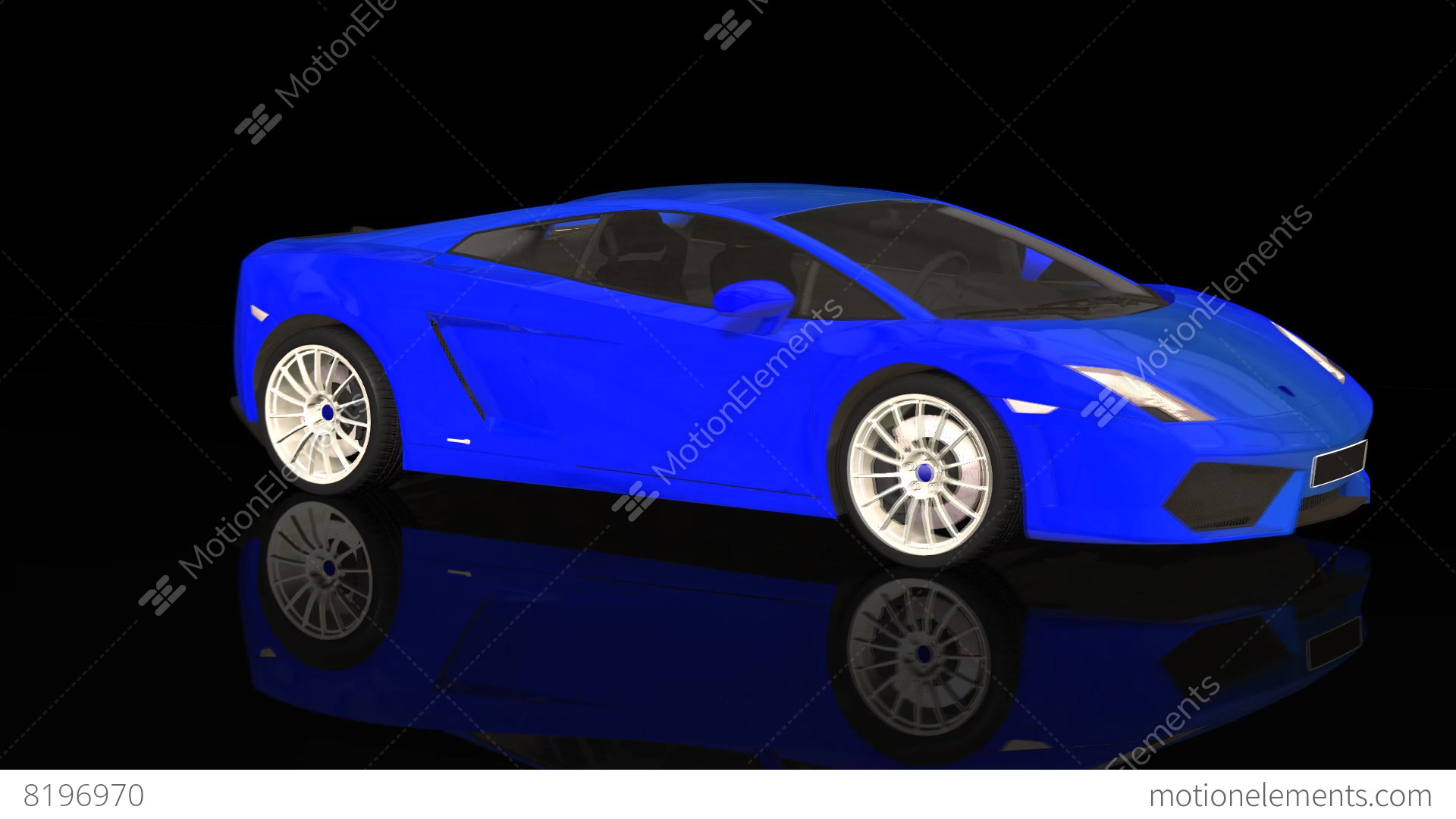 Luxury Sport Car Lamborghini Blue Color Moving Rotation Stock Animation 8196970