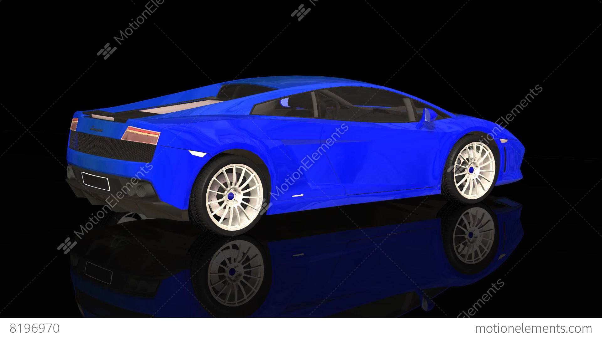 Luxury Sport Car Lamborghini Blue Color Moving Rotation Stock