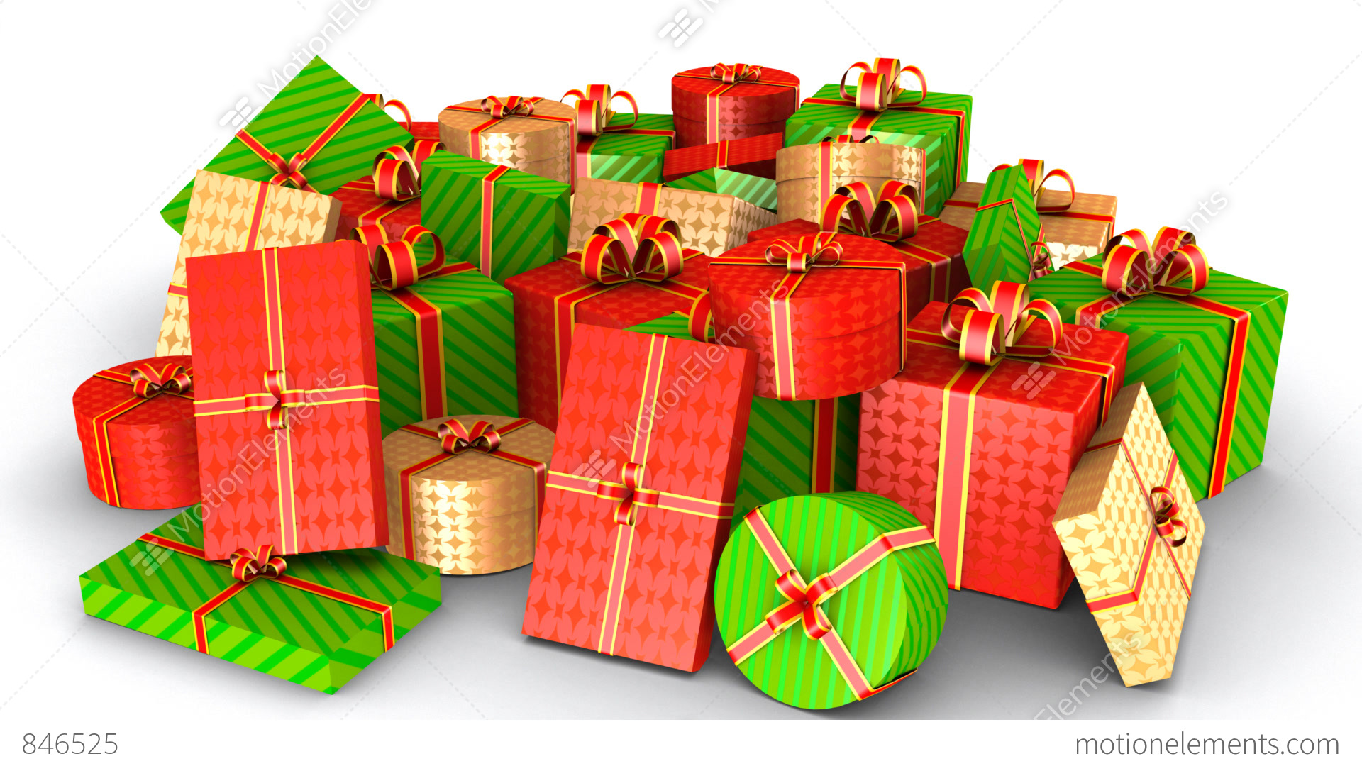 Lots Of Gifts (HD + Alpha Matte) Stock Animation   846525