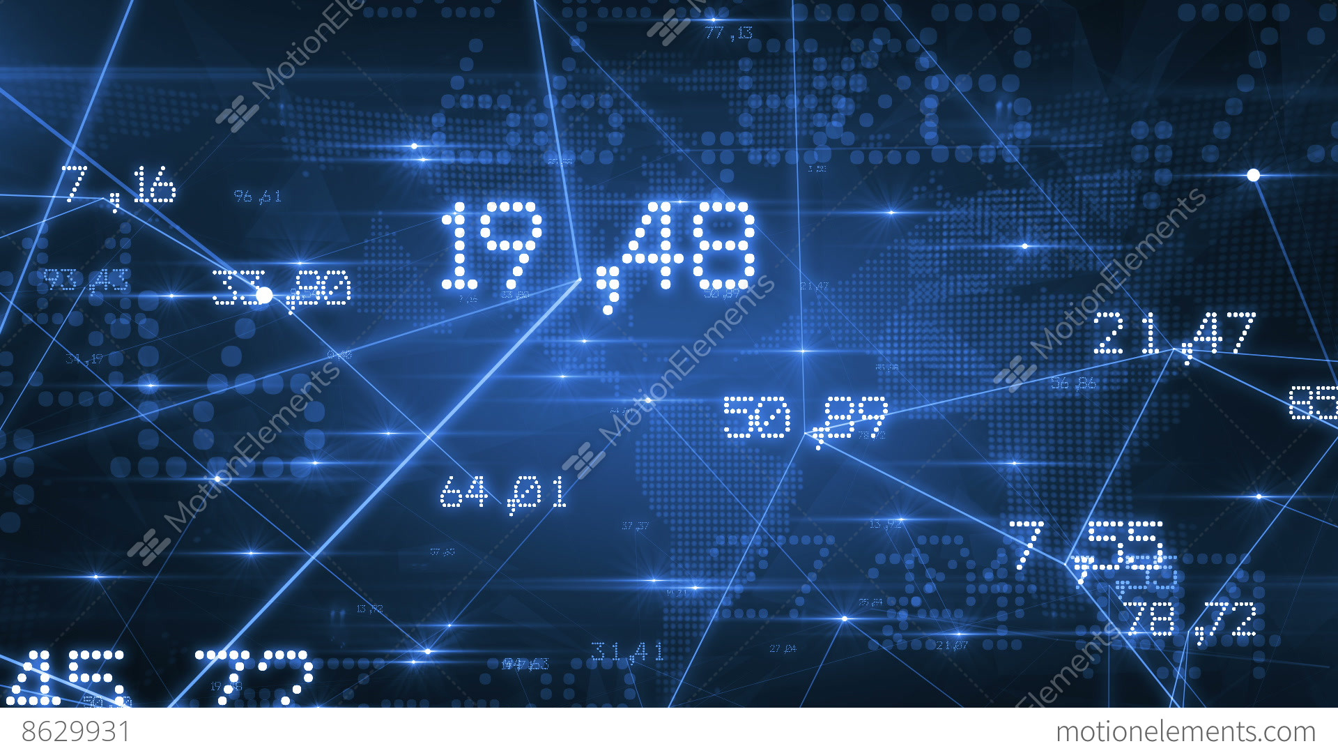 Futuristic Network With Numbers And Lines. Blue Background. Looped. HD 1080 Stock Animation