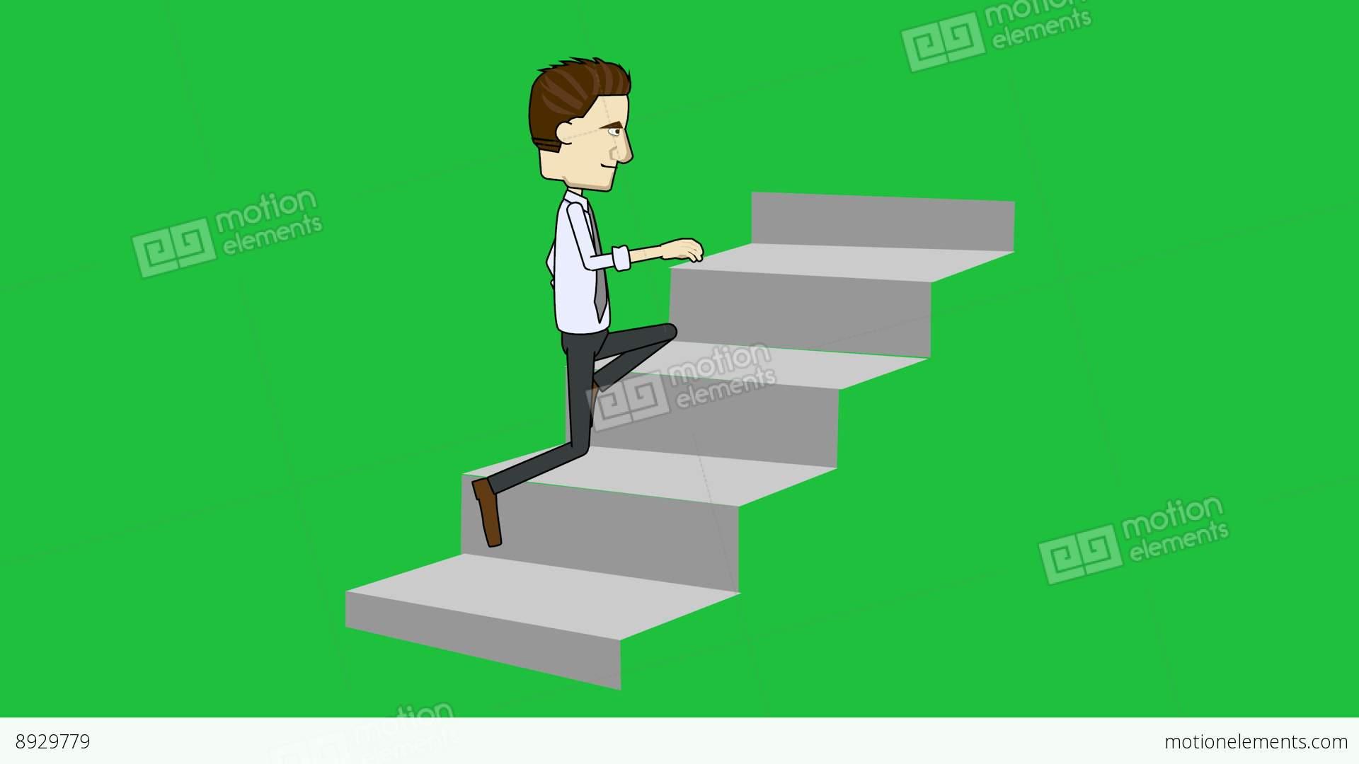 Cartoon Businessman Running Up Stairs Loop Matte Stock