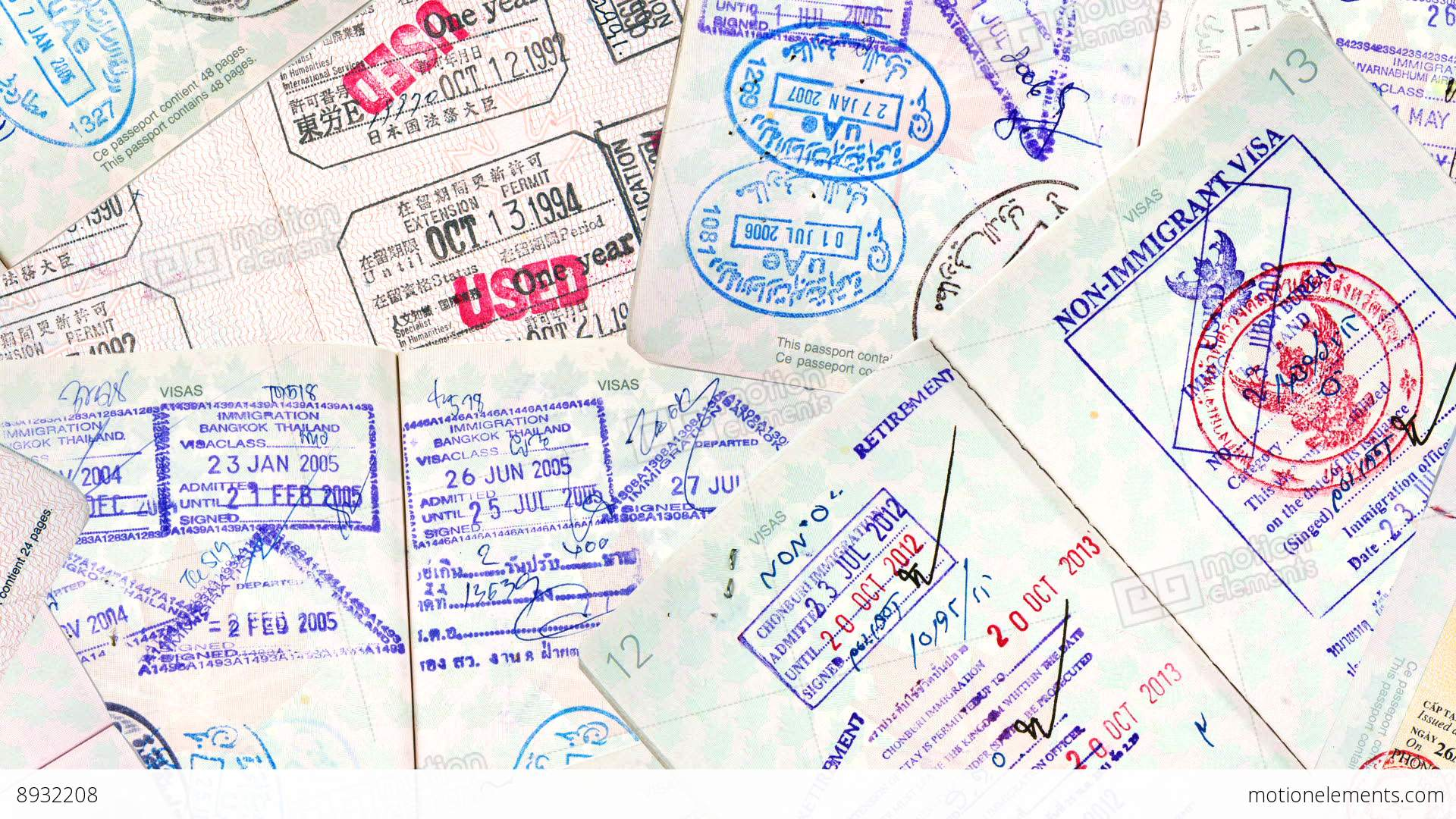 International Travel Passport Stamps Stock Video Footage