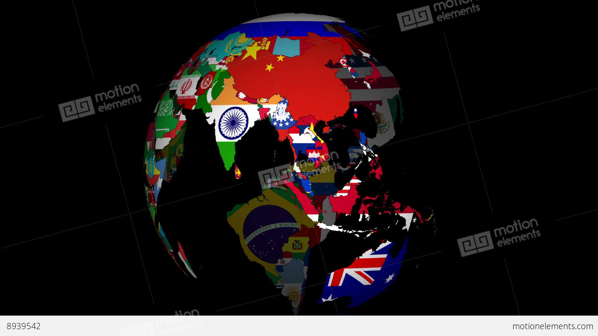globe with countries and their national flags stock animation 8939542