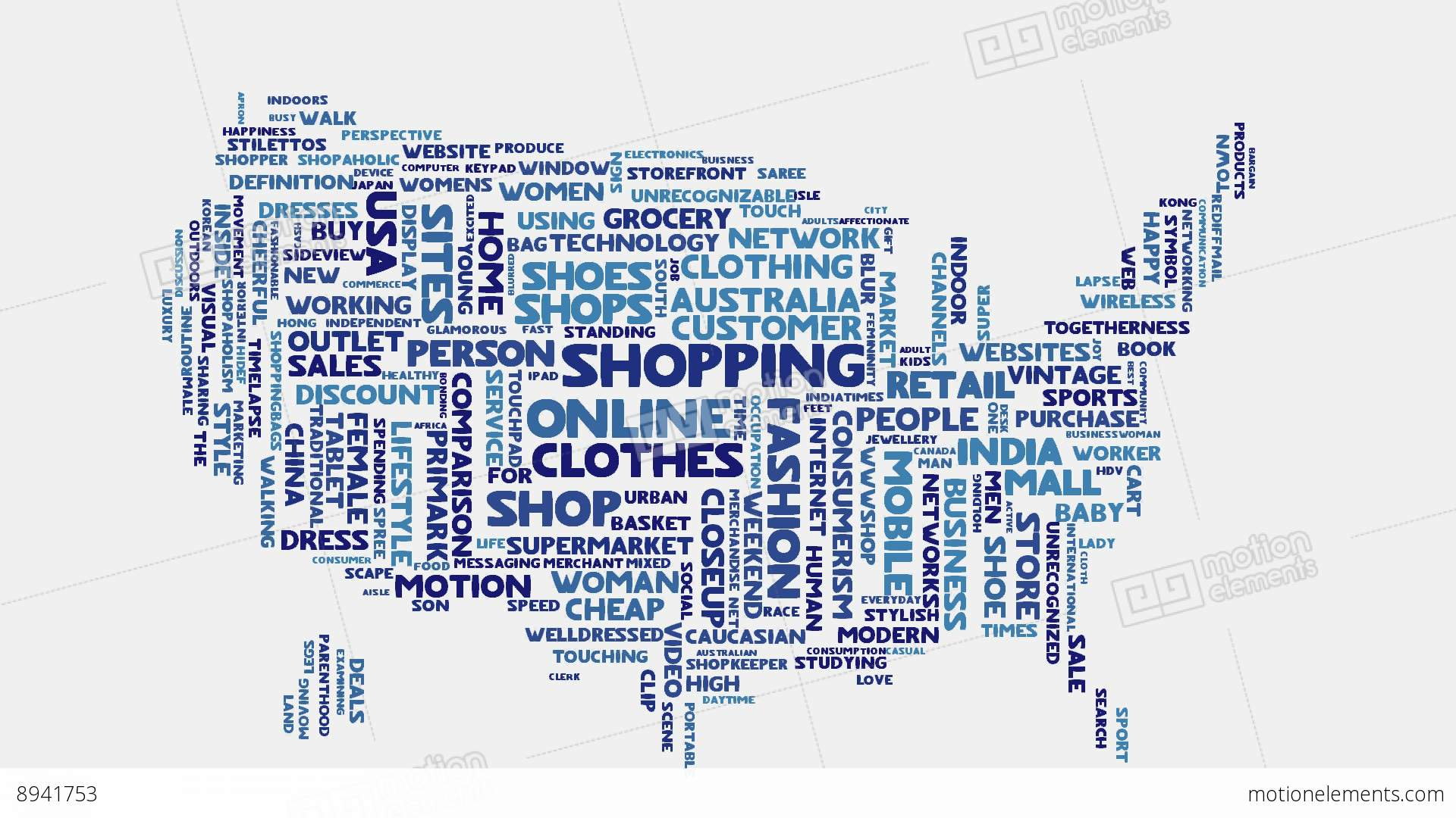 USA Shopping Commerce Beauty Fashion Word Cloud Text