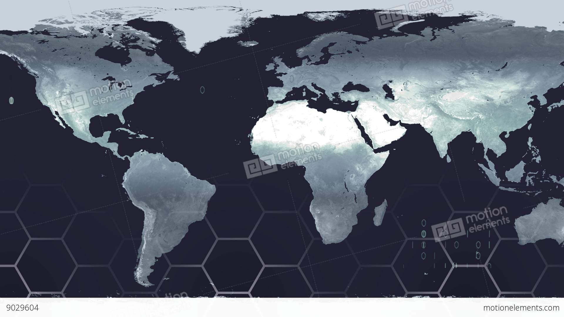 World Map High Tech Digital Satellite Data View War Room K Stock - World map satellite hd