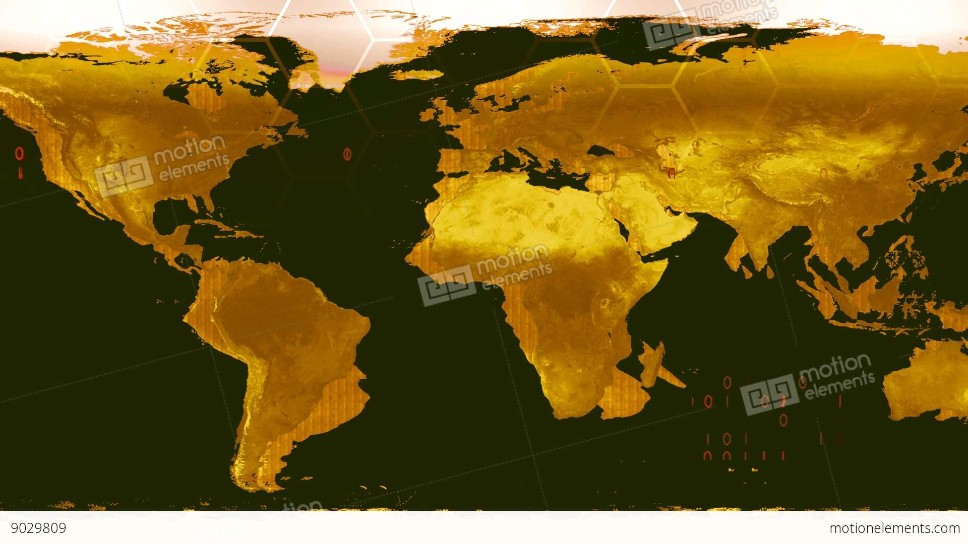 World Map High Tech Digital Satellite Data View War Room K Stock - World map satellite view video