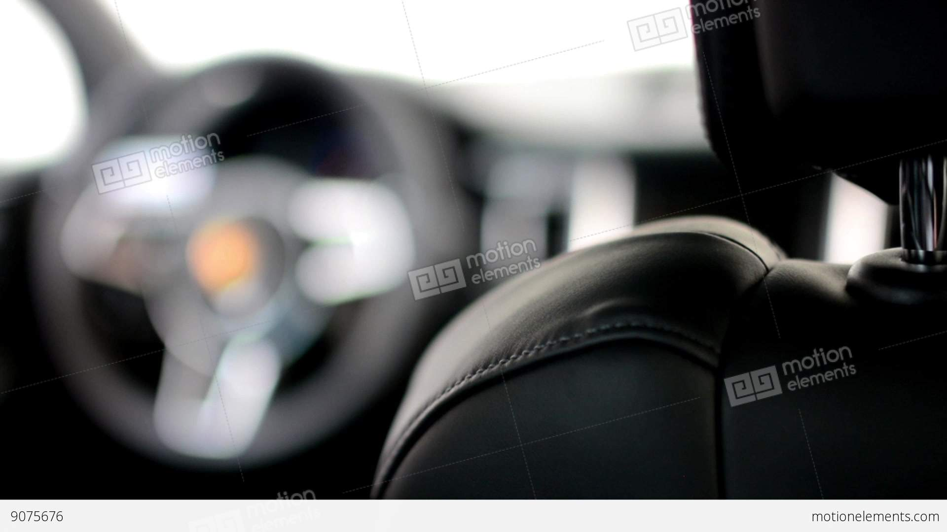 Dashboard Wheel And Detail Of Logo Seat Porsche Suv Stock